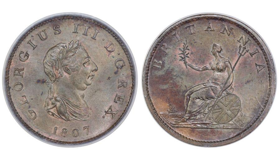 1807 Halfpenny, CGS 78(MS 63-64), UNC, George III, Peck 1378, UIN 26340
