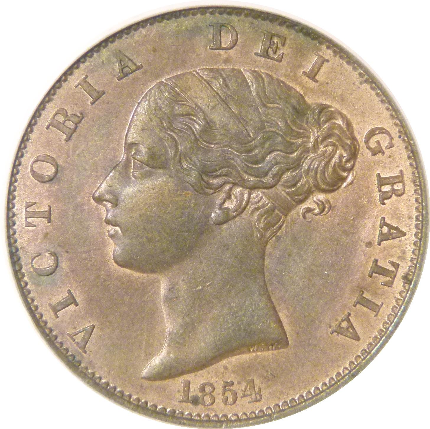 1854 Halfpenny, CGS 78(MS 63-64), UNC, Victoria, Peck 1542, UIN 13106