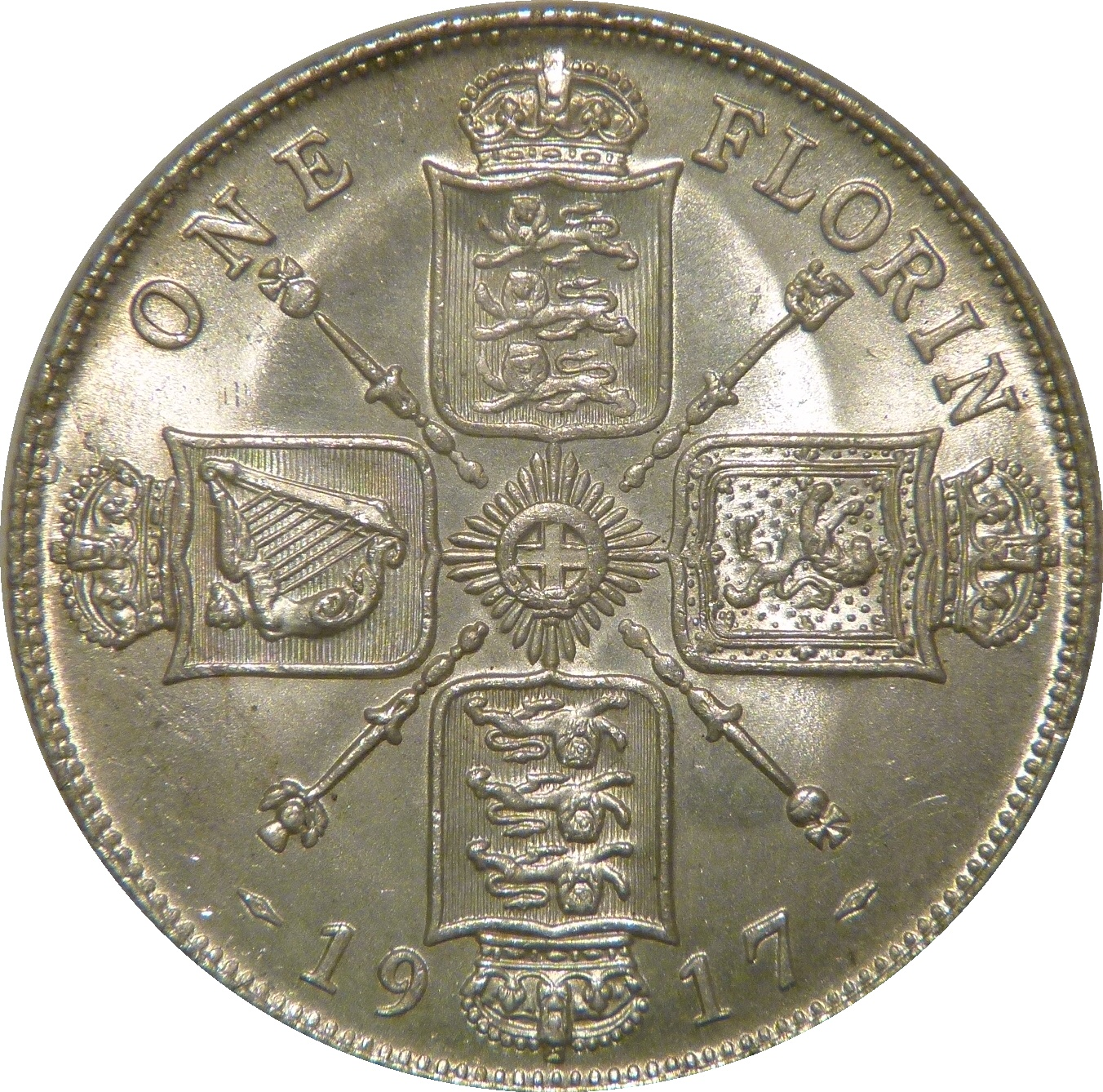 1917 Florin, CGS 78(MS 63-64), UNC, George V, ESC 936, UIN 33216