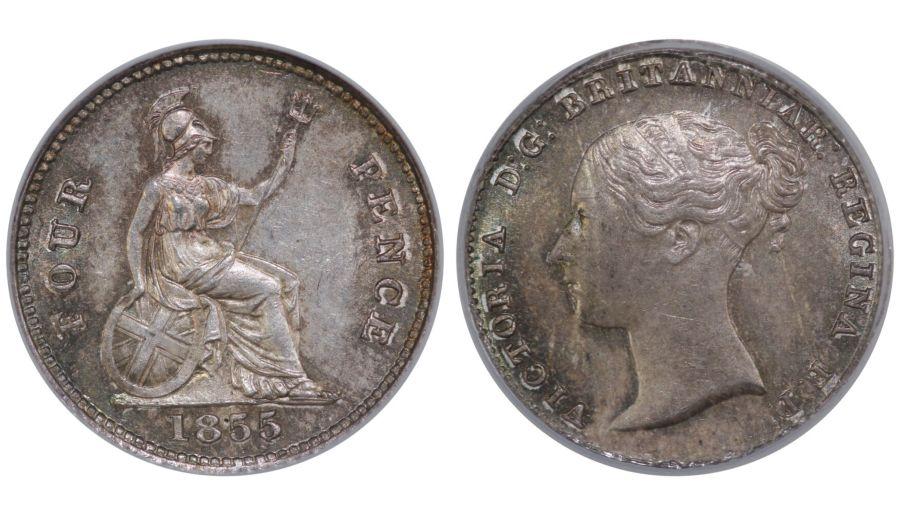 1855 Groat, Victoria, CGS 82(MS 64-65), Choice UNC, ESC 1953, UIN 15915