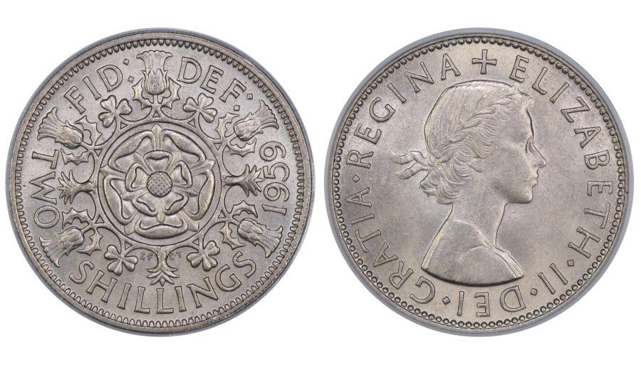 1959 Florin, CGS UNC 82(MS 64-65), Elizabeth II, ESC 968M, UIN 6372