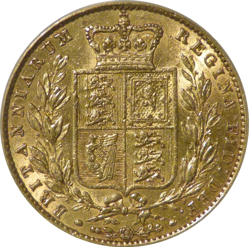 1853 Sovereign, CGS 45(AU 53), CGS variety 6, UIN 27905