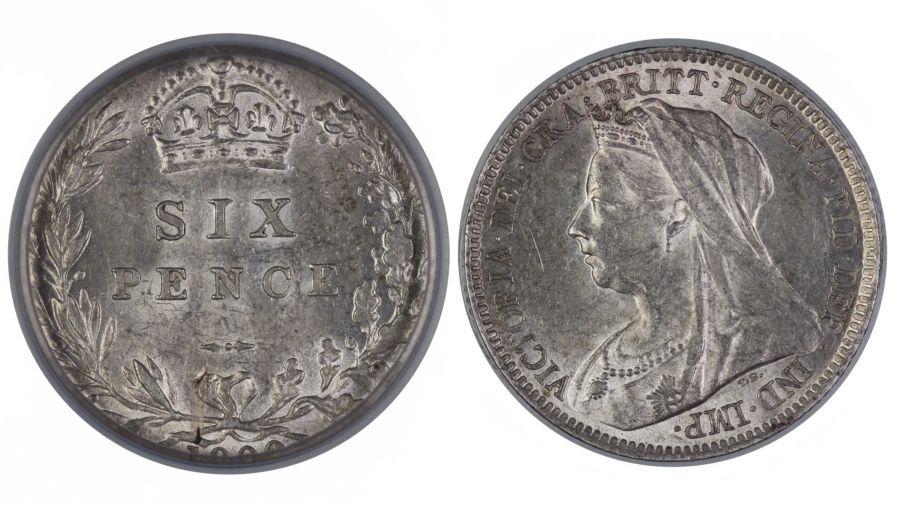 1900 Sixpence, CGS AU 75(MS 62-63), Victoria veiled head, ESC 1770, UIN 22831