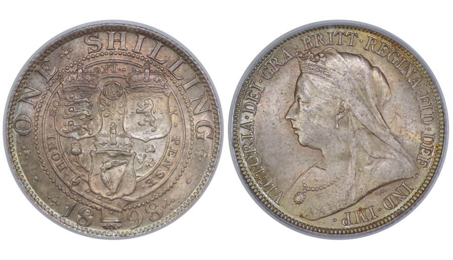 1898 Shilling, CGS 78(MS 63-64), UNC, Victoria, UIN 12534