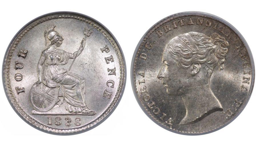 1838, Groat, CGS 82(MS 64-65), UNC, UIN 17489
