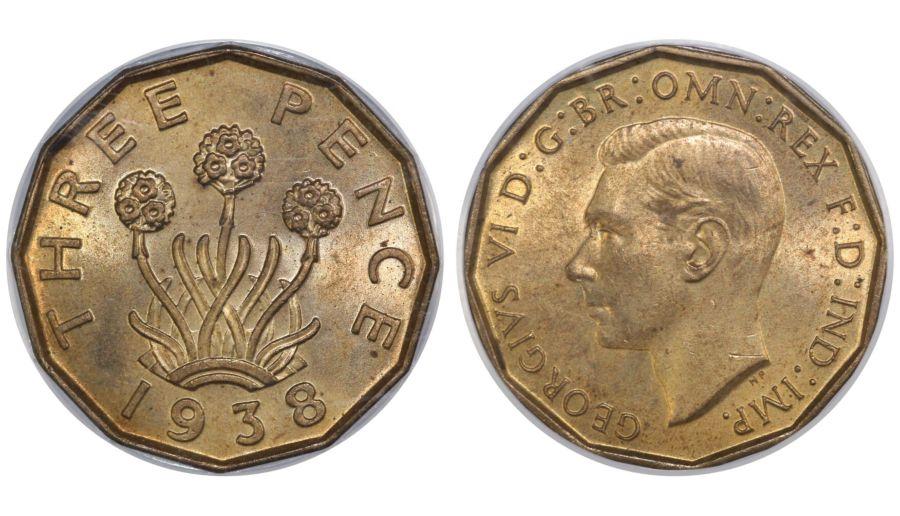 1938 Threepence, CGS 82(MS 64-65), UNC, Peck 2372, UIN 1233