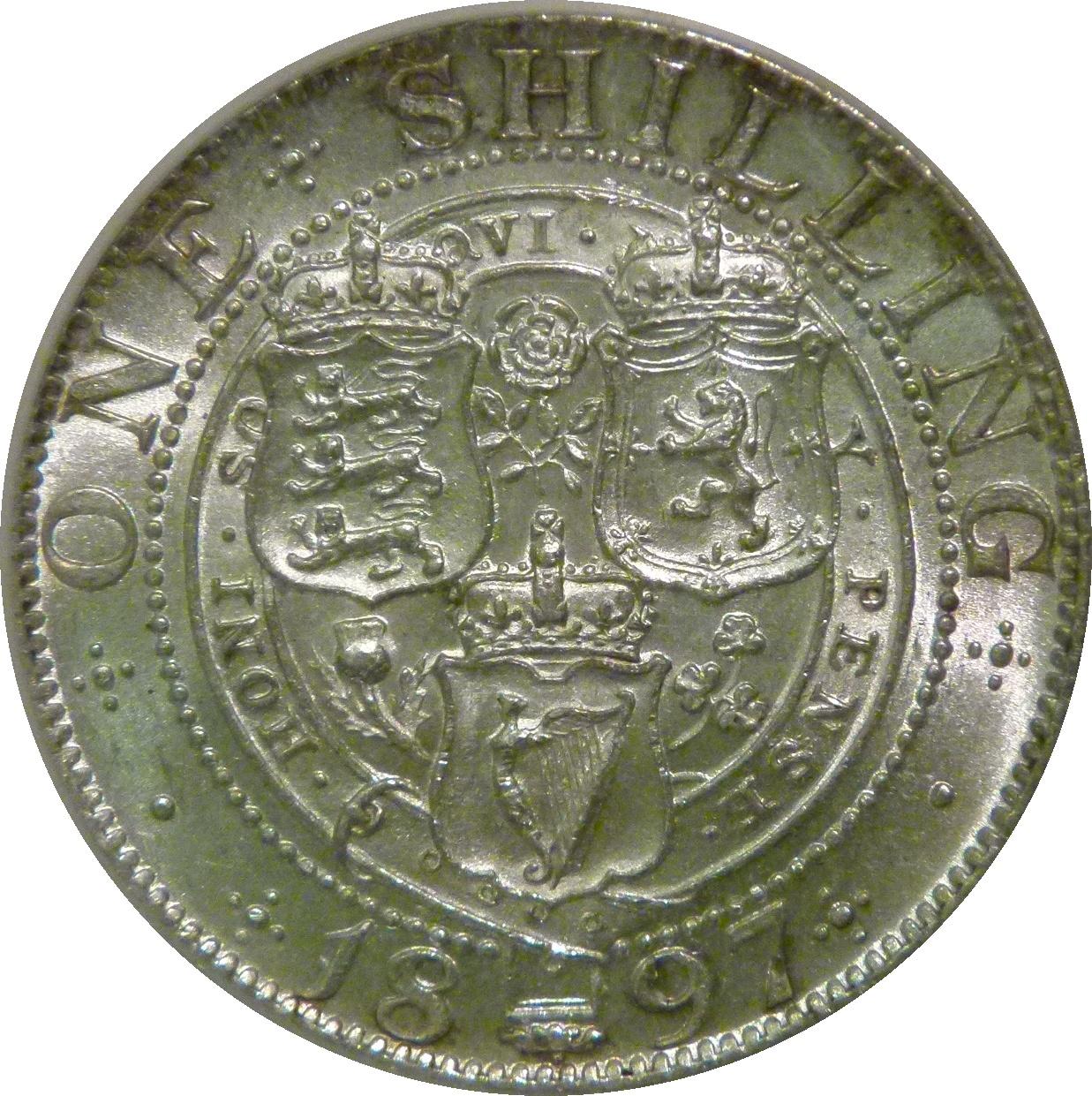 1897 Shilling, CGS 70(MS 60-61), aUNC,,  ESC 1366, UIN 30694