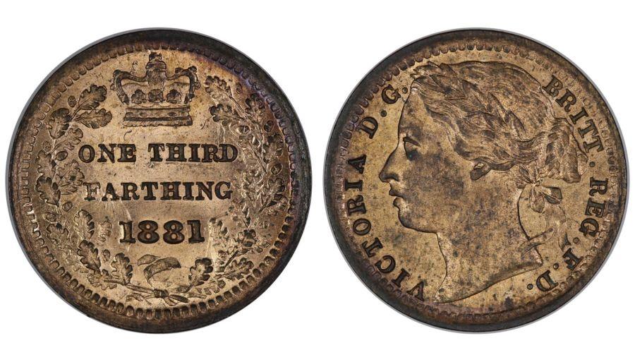 1881 Third Farthing, UNC, Victoria, Spink 3960