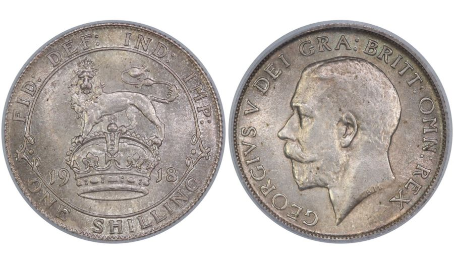 1918 Shilling, CGS 78(MS 63-64), UNC, George V, ESC 1428, UIN 9260