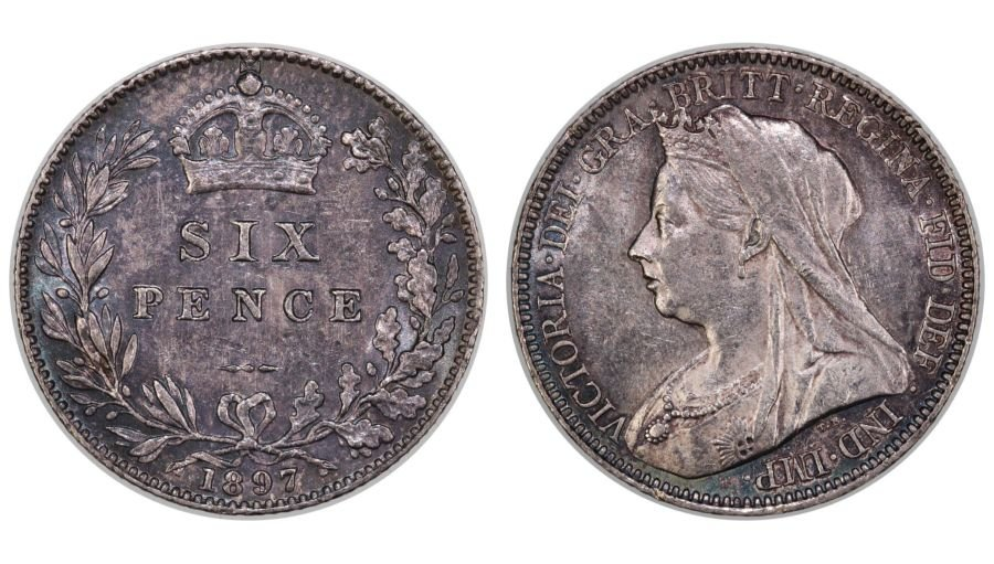 1897 Sixpence, EF, Victoria OH,  ESC 1767,  Davies 1185 - Sold at Facebook auction