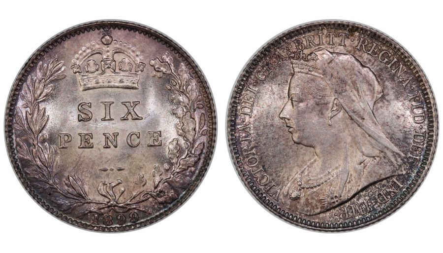 1899 Sixpence, UNC, Victoria, Davies 1187, dies 2+B - FB auction