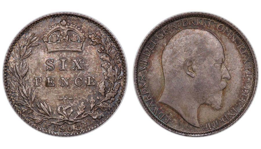 1902 Sixpence, aUNC, Edward VII, Davies 1570