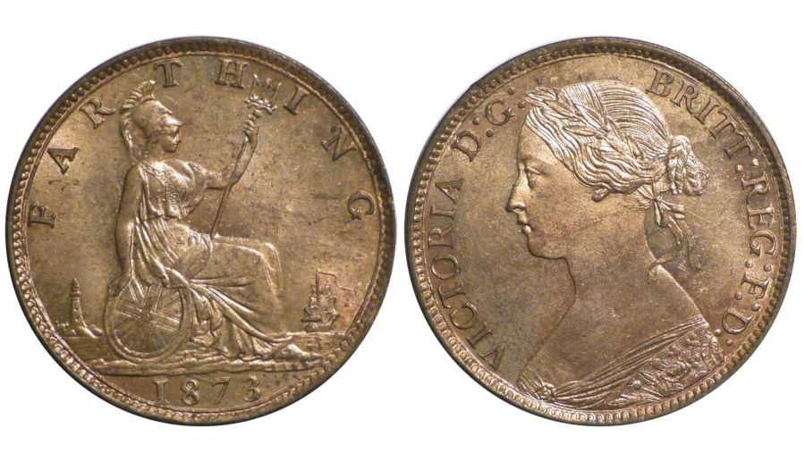 1873 Farthing, UNC,Victoria, Freeman 525, Peck 1886
