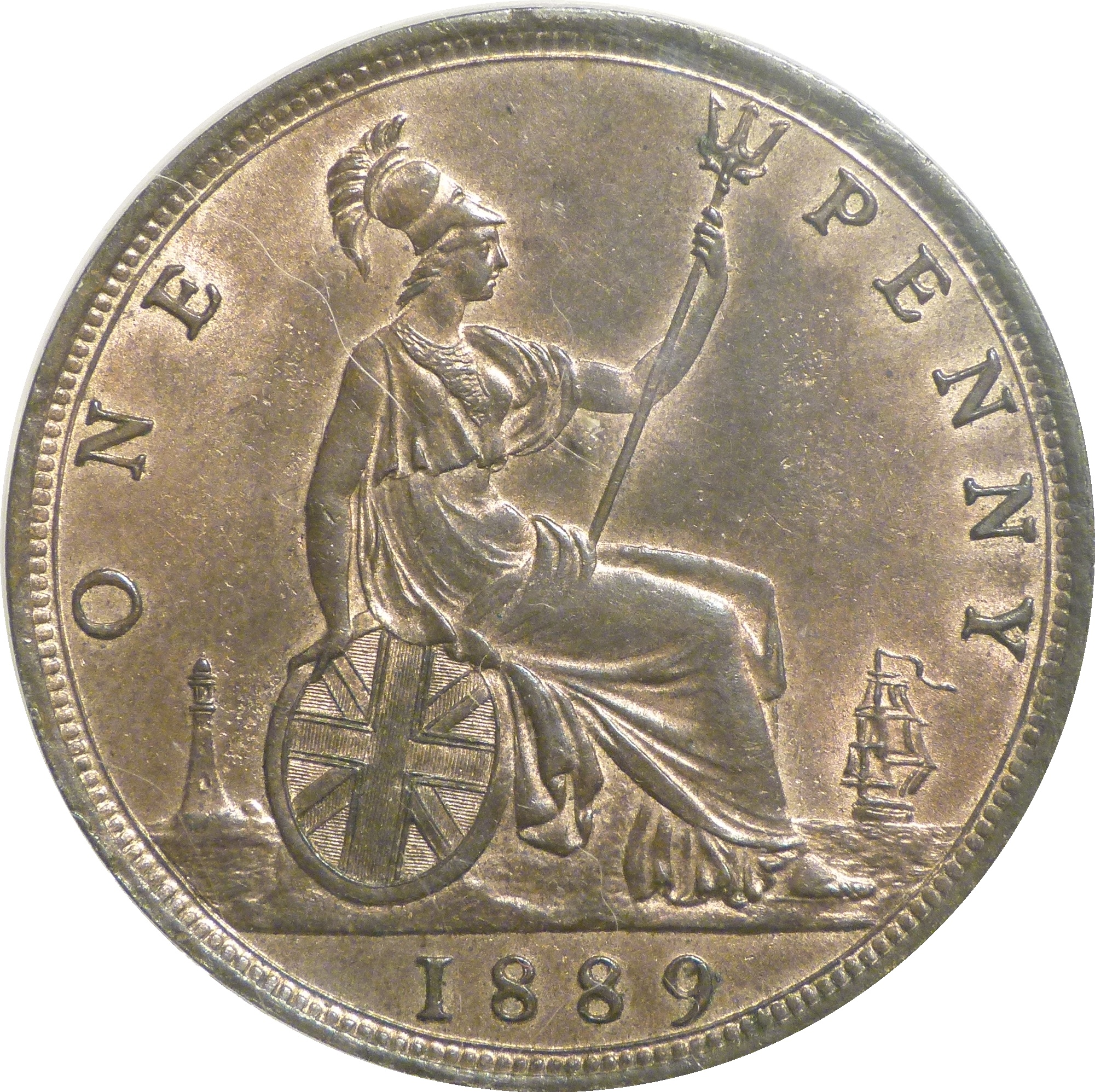 1889 Penny '14 Leaves', LCGS 70(MS 60-61), Freeman128, Victoria