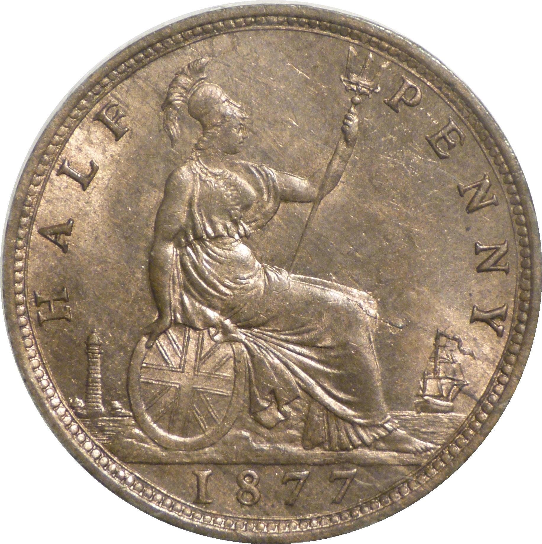 1877 halfpenny, UNC, Victoria. damaged flan, Freeman 333, Dies 14+N, FB auction
