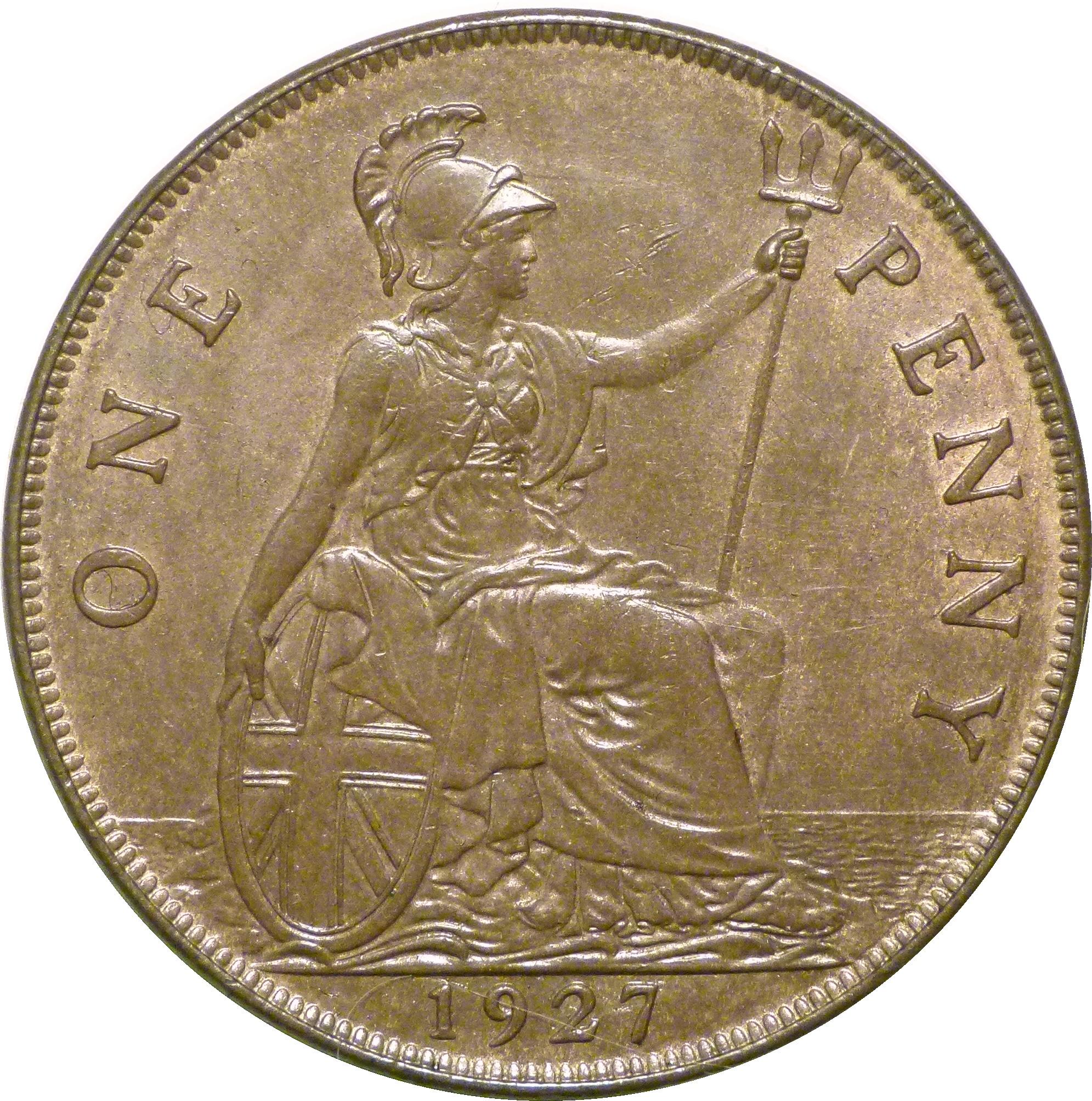 1927 Penny, gEF, George V, Freeman 197