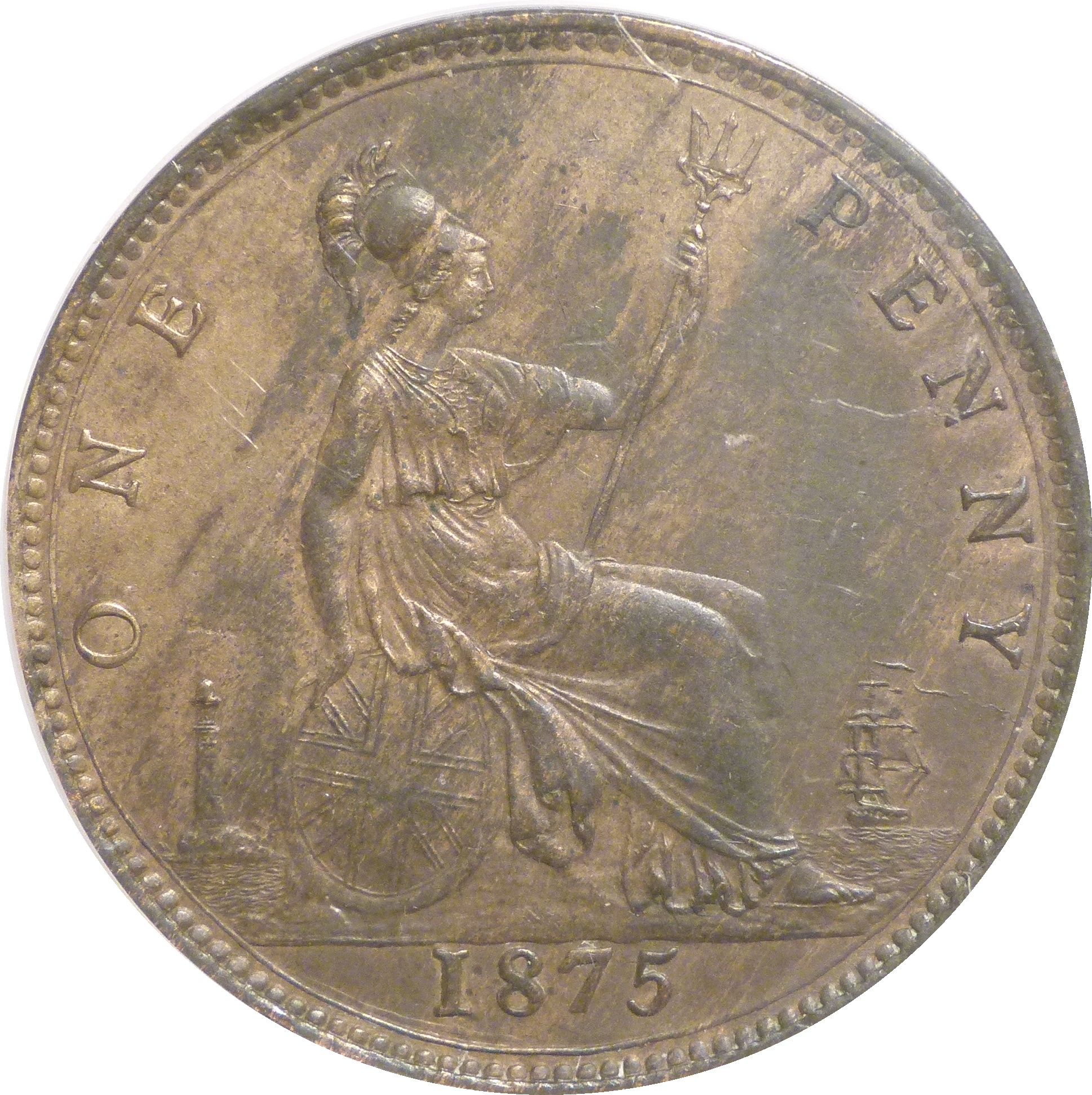 1875 Penny, CGS 60(AU 58-MS 60), EF, Freeman 80, Dies 8+H, UIN 20255, Sold at auction