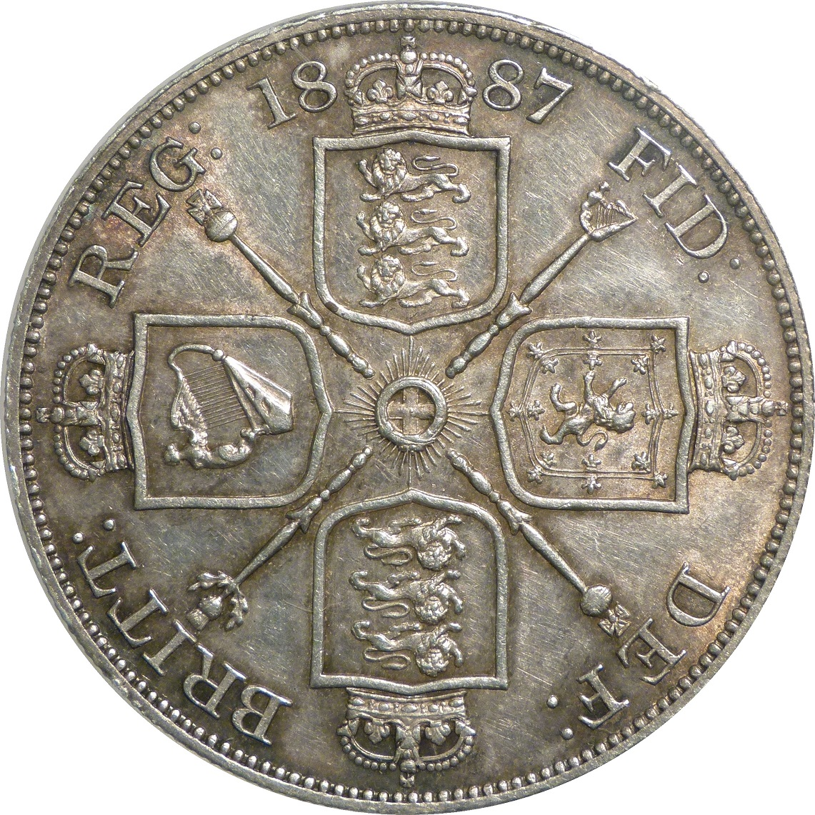 1887 Double-Florin, 70(MS 60-61), AU, ESC 395(old), UIN 2769