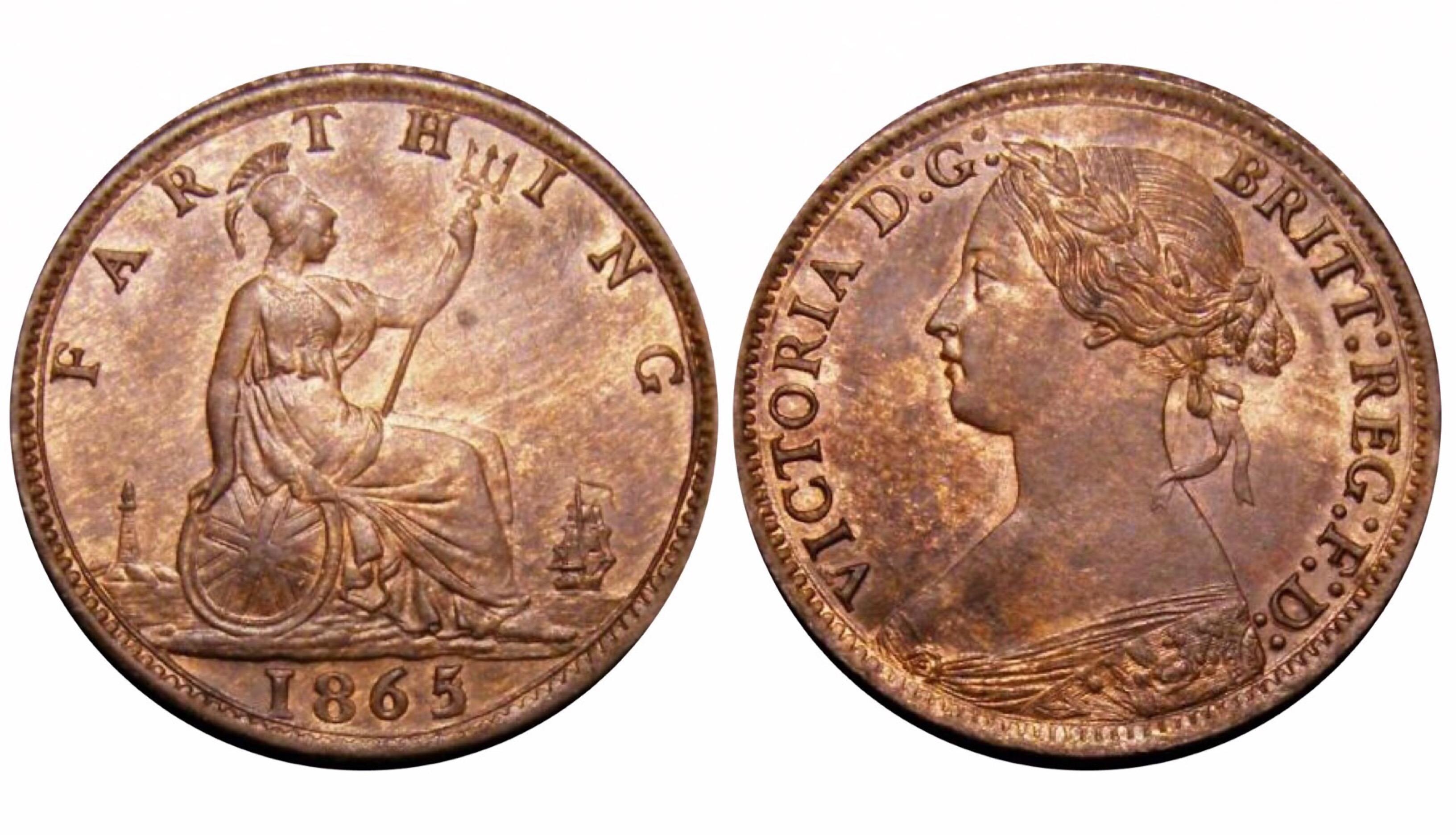 1865/2 Farthing, CGS 65(MS60 -61), gEF, Victoria, Freeman 513