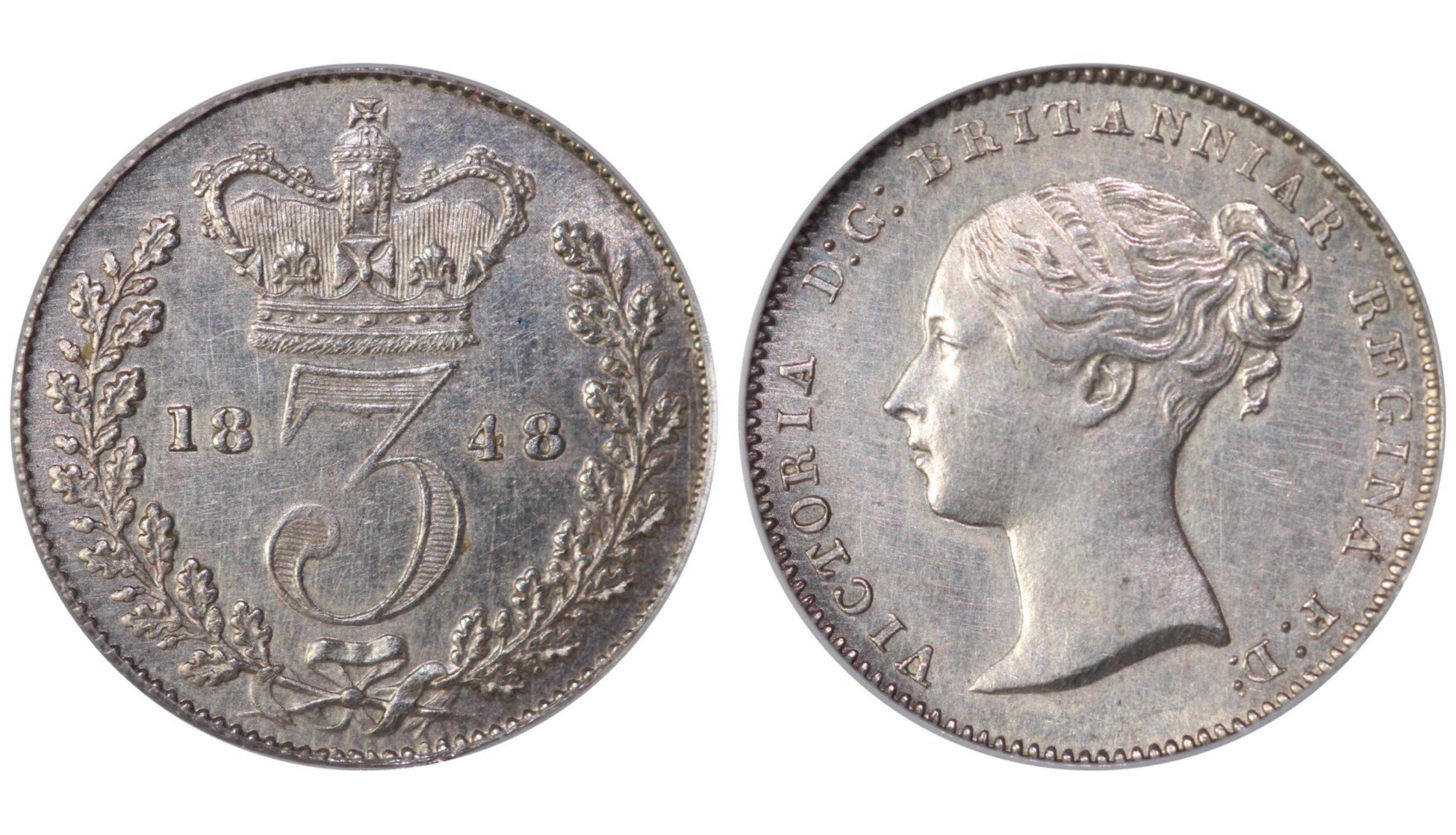 1848 Threepence, CGS 70(MS 60-61), aUNC, Victoria, ESC 2056A