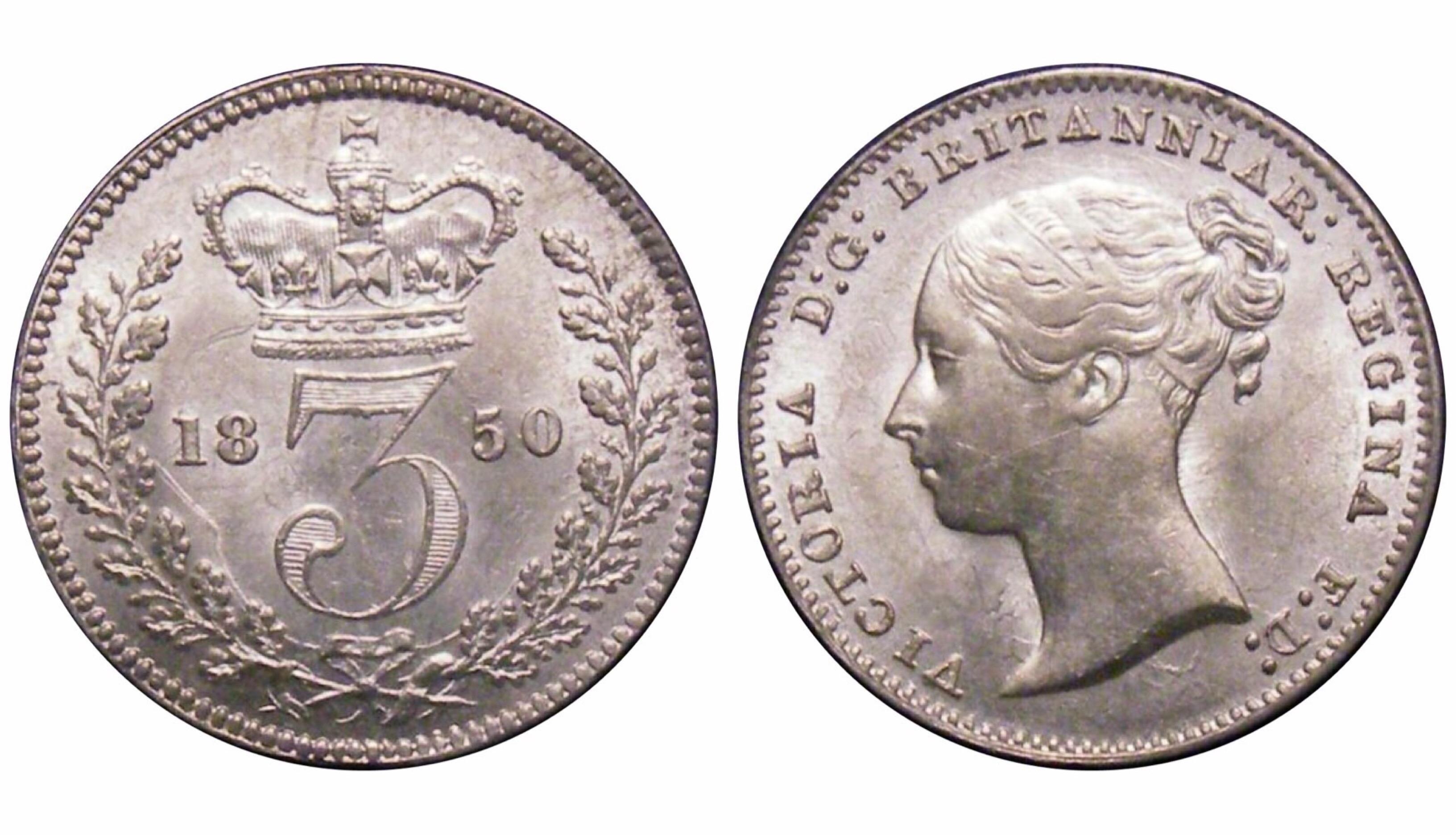 1850 Threepence, CGS 60(AU 58- MS 60), EF, Victoria, ESC 2058