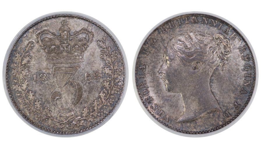 1852 Threepence, CGS 70(MS 60-61), aUNC, Victoria, ESC 2059B