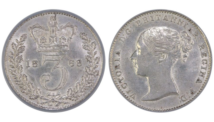 1868 Threepence, CGS 75(MS 62-63), UNC or near so, ESC 2059B