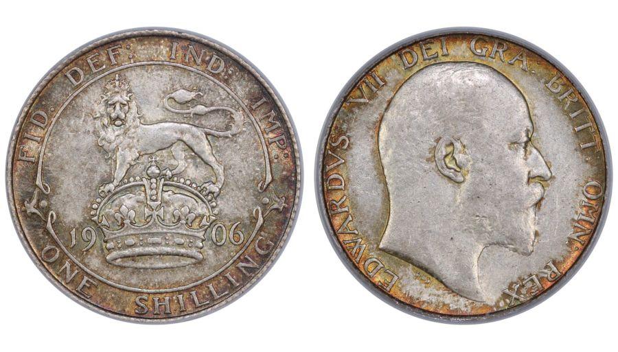 1906 Shilling, CGS 70(MS60-61), aUNC, Edward VII, Gouby 2A 11451
