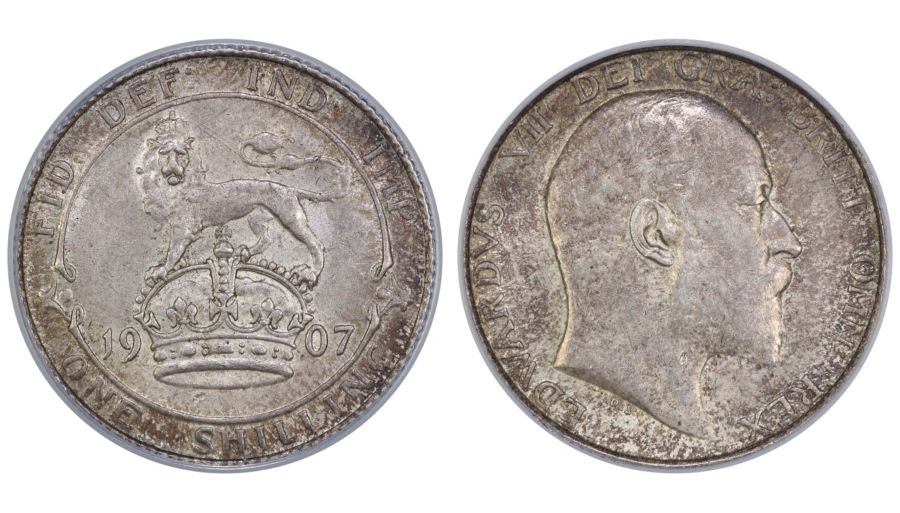 1907 Shilling, CGS 65(MS60-61), gEF, Edward VII, ESC 1416, 27908