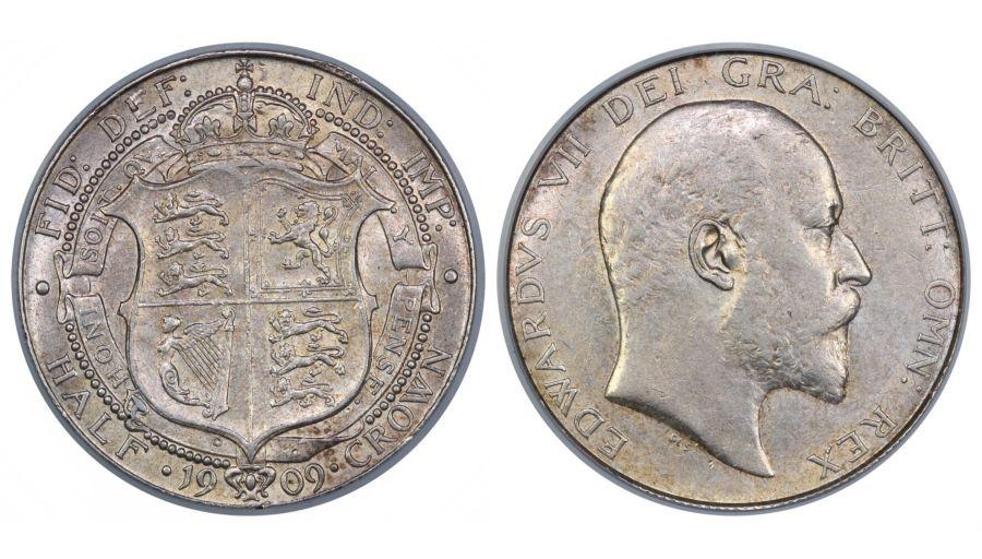 1909 Halfcrown, CGS 55(AU55), nEF, Edward VII, ESC 754, UIN15427
