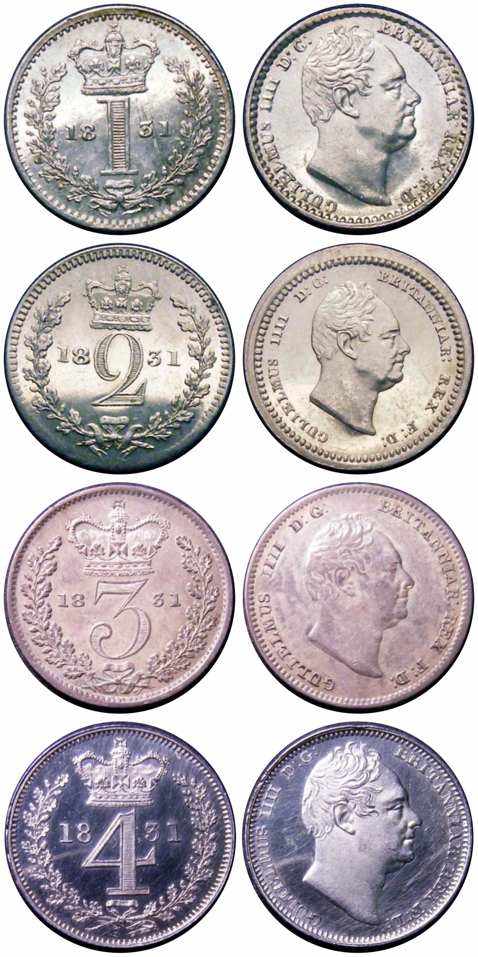 1831 Maundy set, CGS 82 80 65 78, gEF to Choice UNC