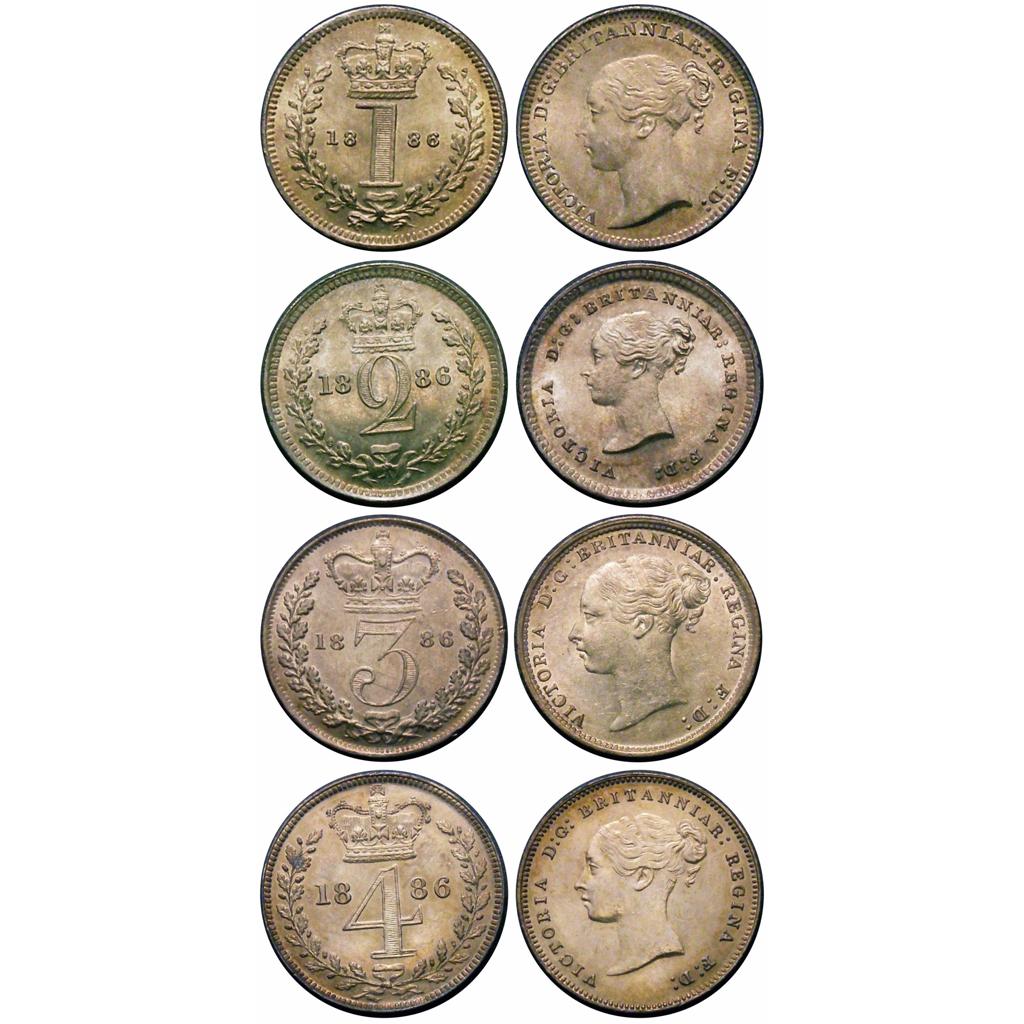 1886 Maundy set, 85 85 75 78, UNC or near so to BU,