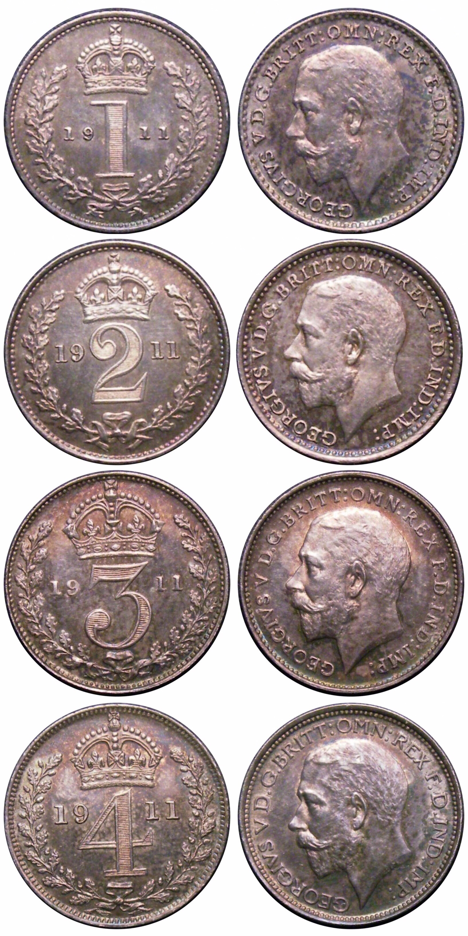 1911 Maundy set, CGS 85 85 88 88, BU-nFDC, George V
