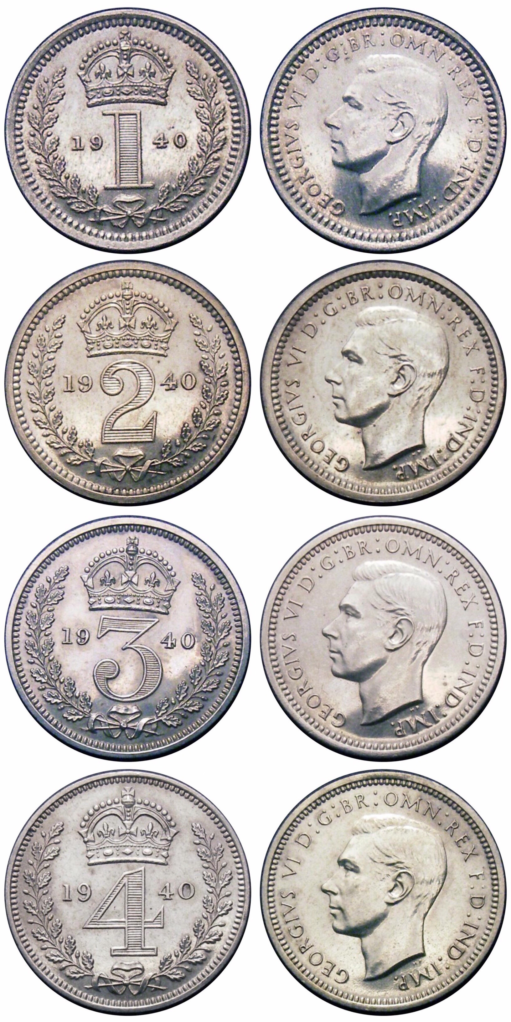 1940 Maundy set, CGS 85 85 85 85, Choice UNC to BU, George VI