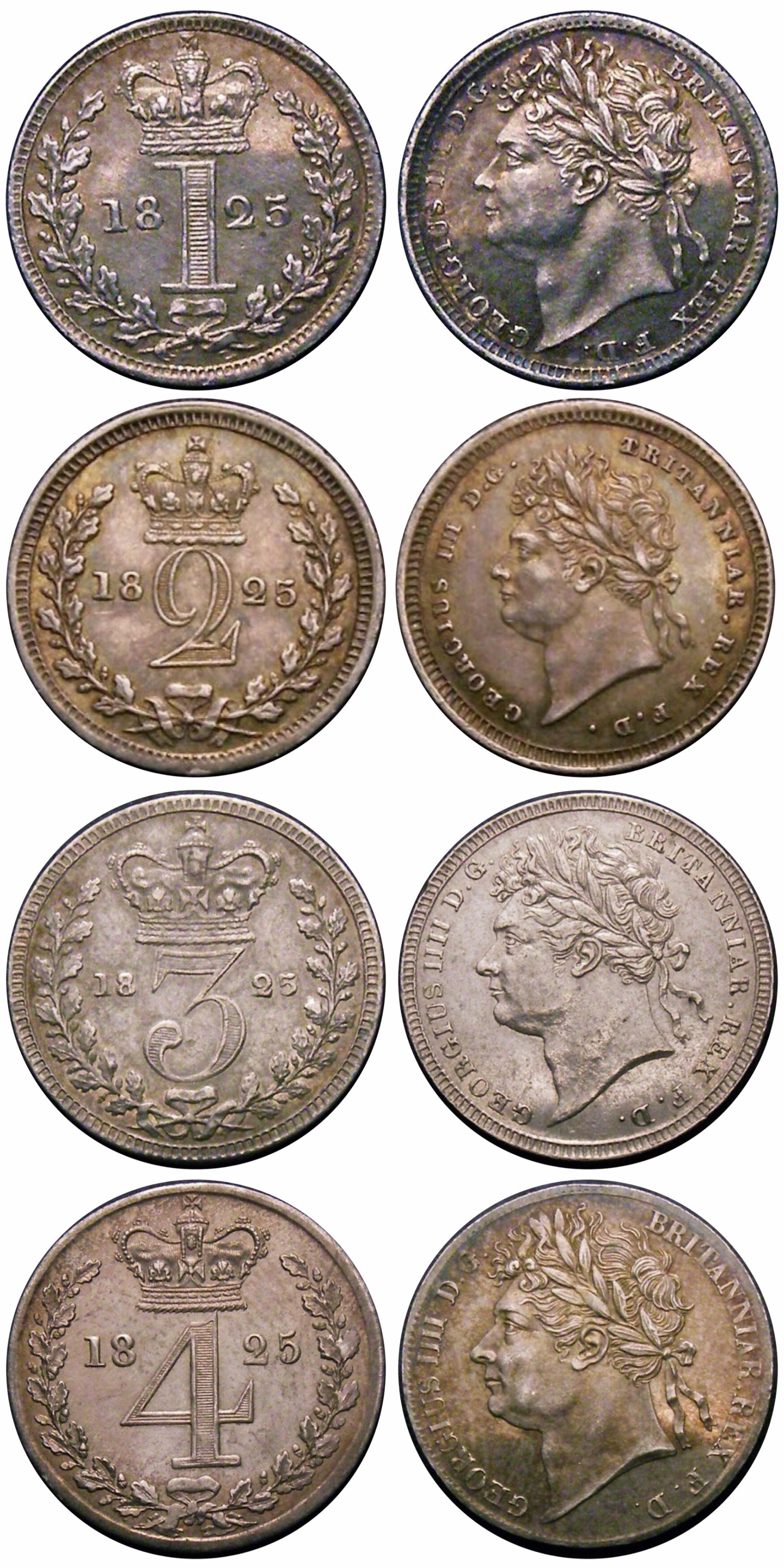 1825 Maundy set, CGS 80 70 55 70, nEF to Choice UNC, George IV, T over B on 2d