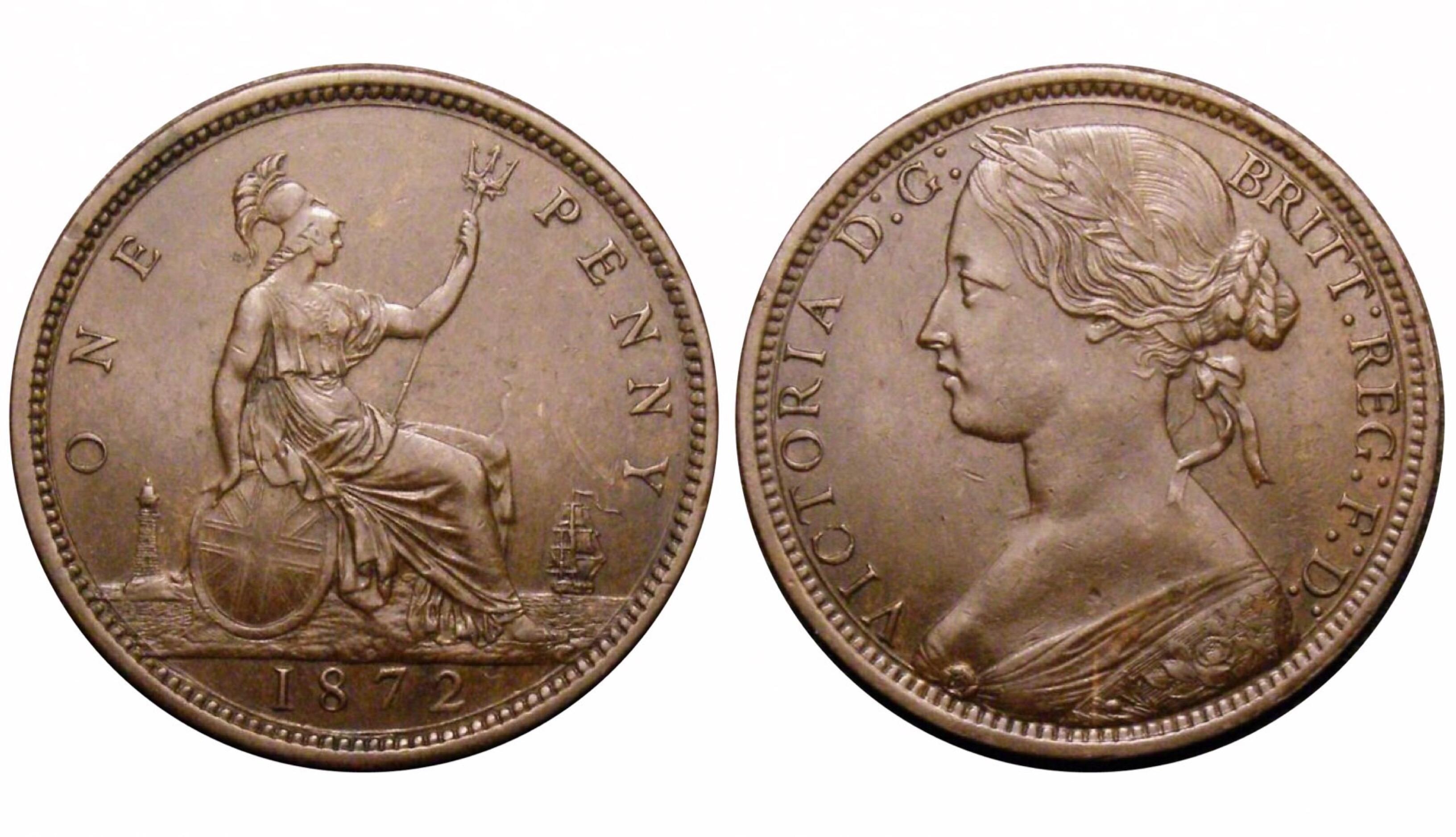 1872 Penny, CGS 70(MS 60-61), aUNC, Victoria, Gouby BP1872Ab, UIN 37296