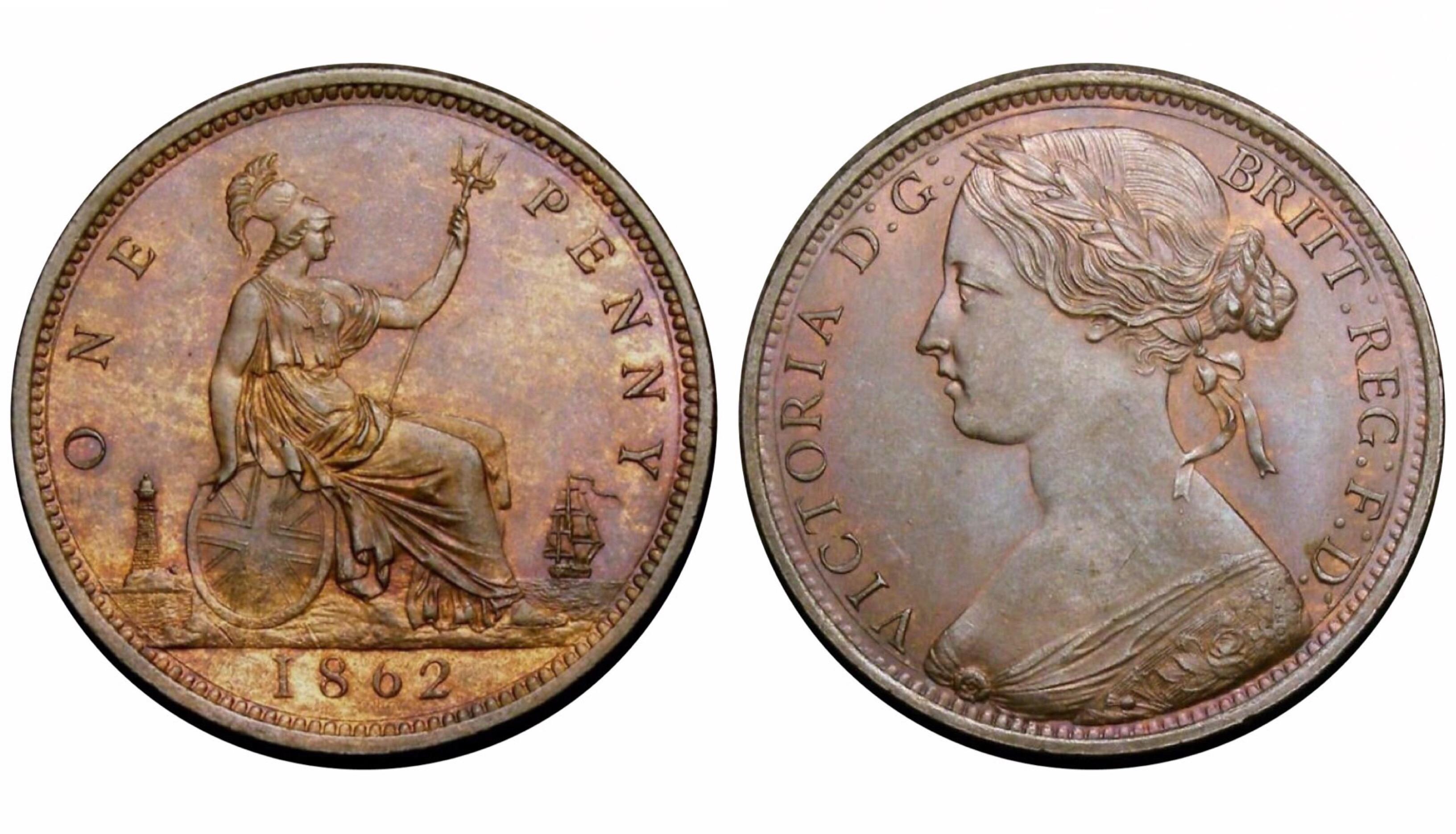 1862 Penny, UNC, CGS 78(MS 63-64), Victoria, Freeman 39, Dies 6+G, UIN 29979