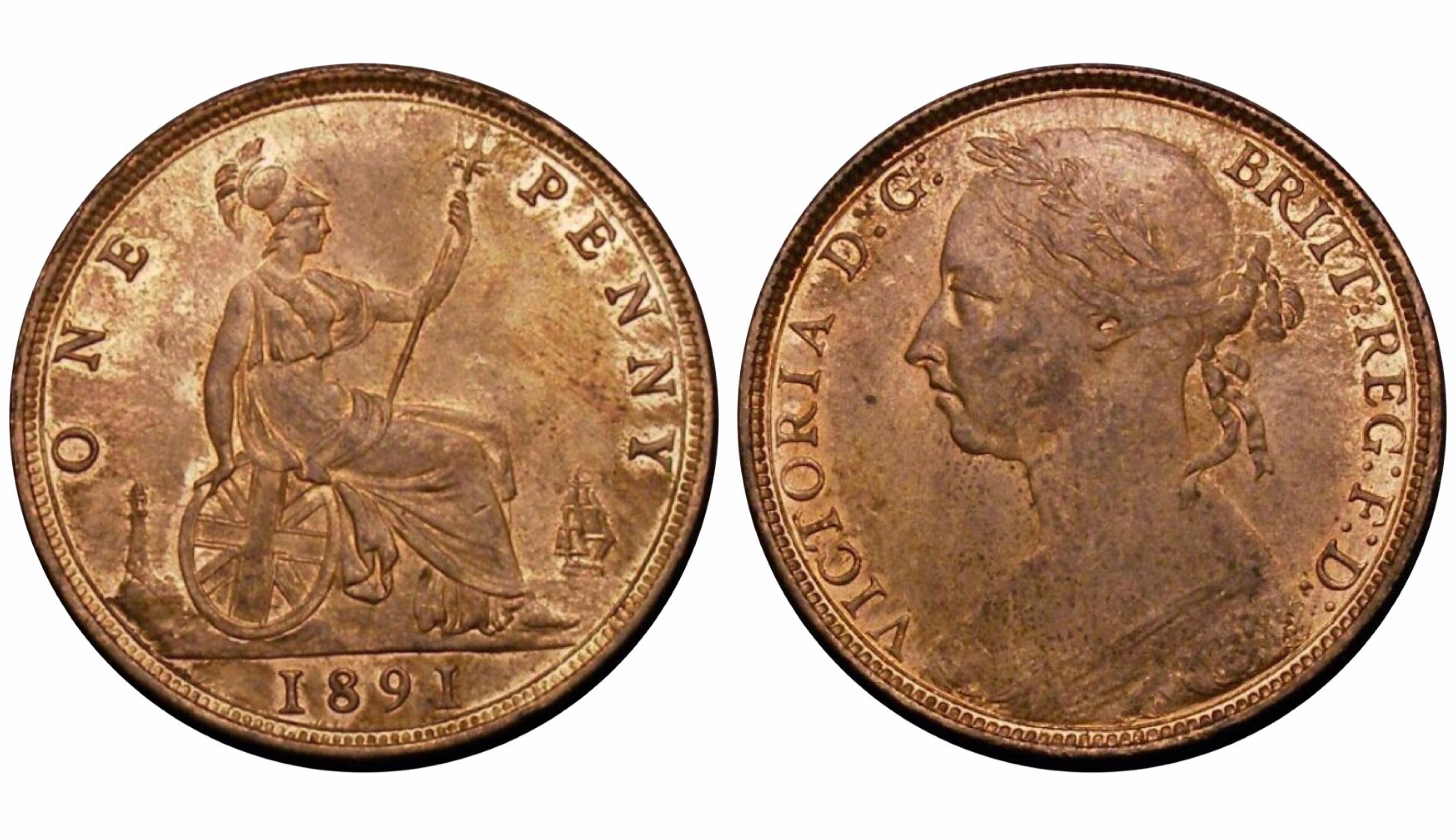1891 Penny, UNC, CGS 80(MS 64), Victoria, Gouby BP1891AB, UIN 32567