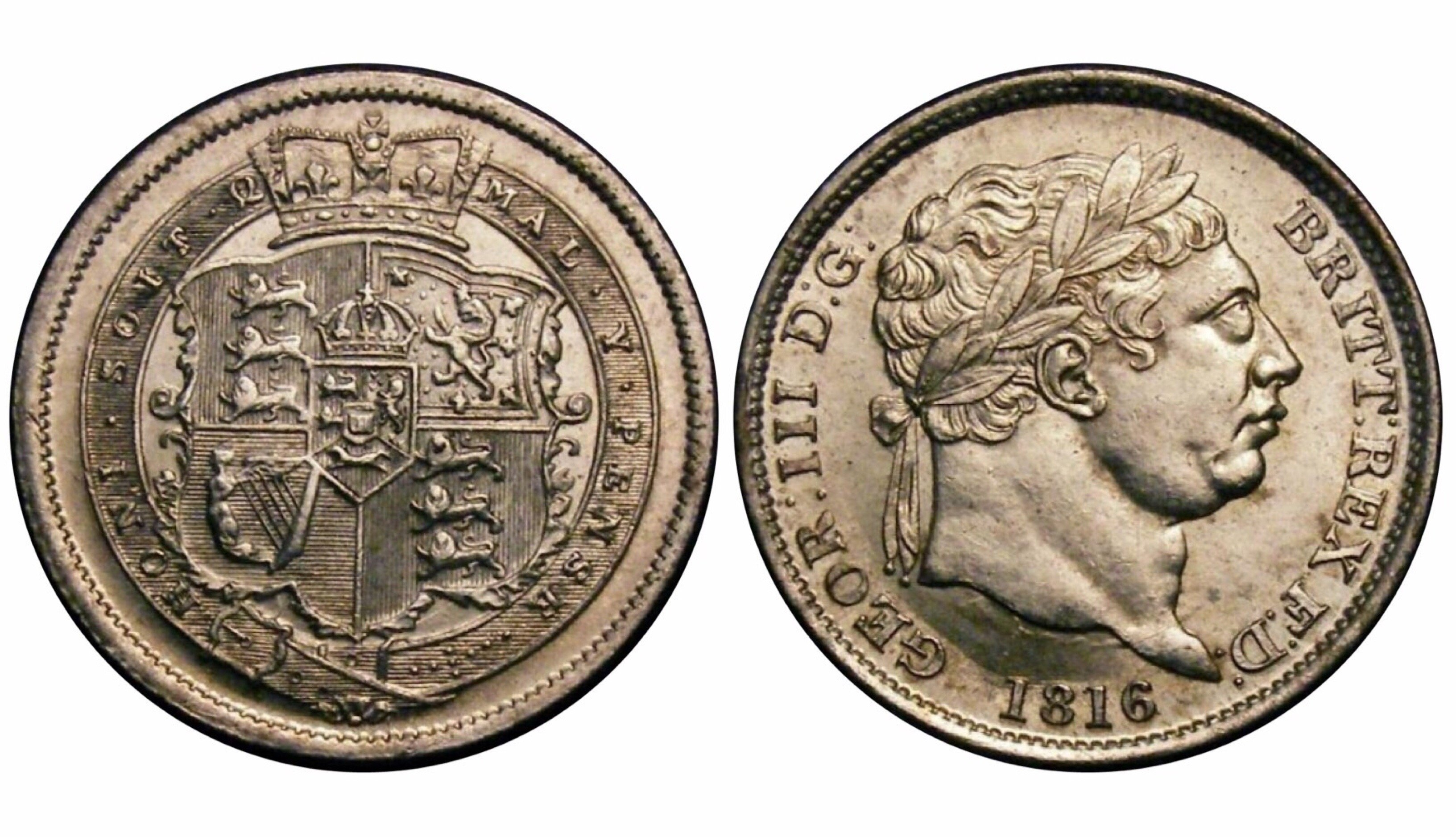 1816 Shilling, CGS 82(MS 64-65), Choice UNC, George III, ESC 1228, UIN 32331