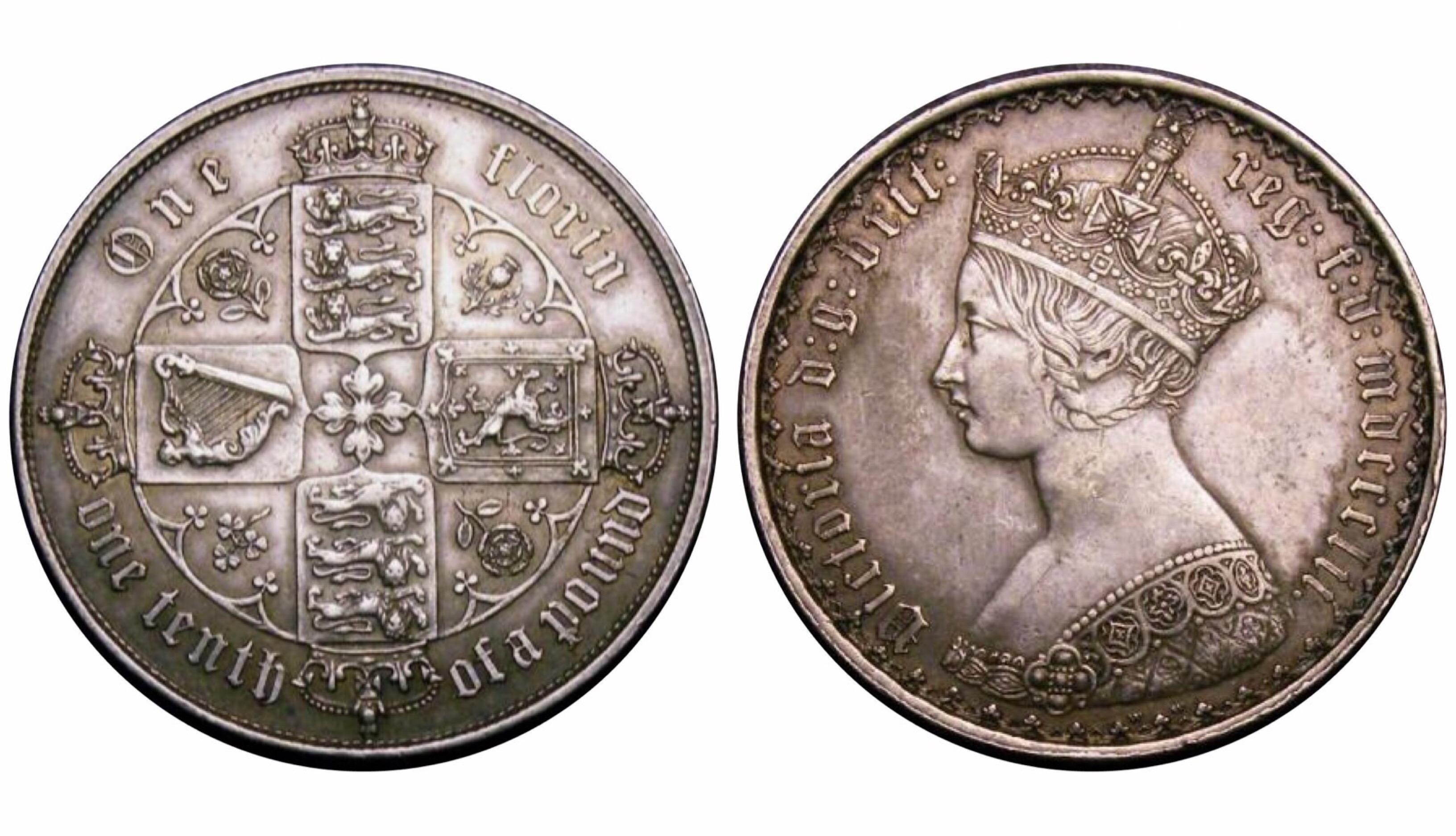 1852 Florin, CGS 60(AU 58-MS 60), EF, Victoria, ESC 806, UIN 25577