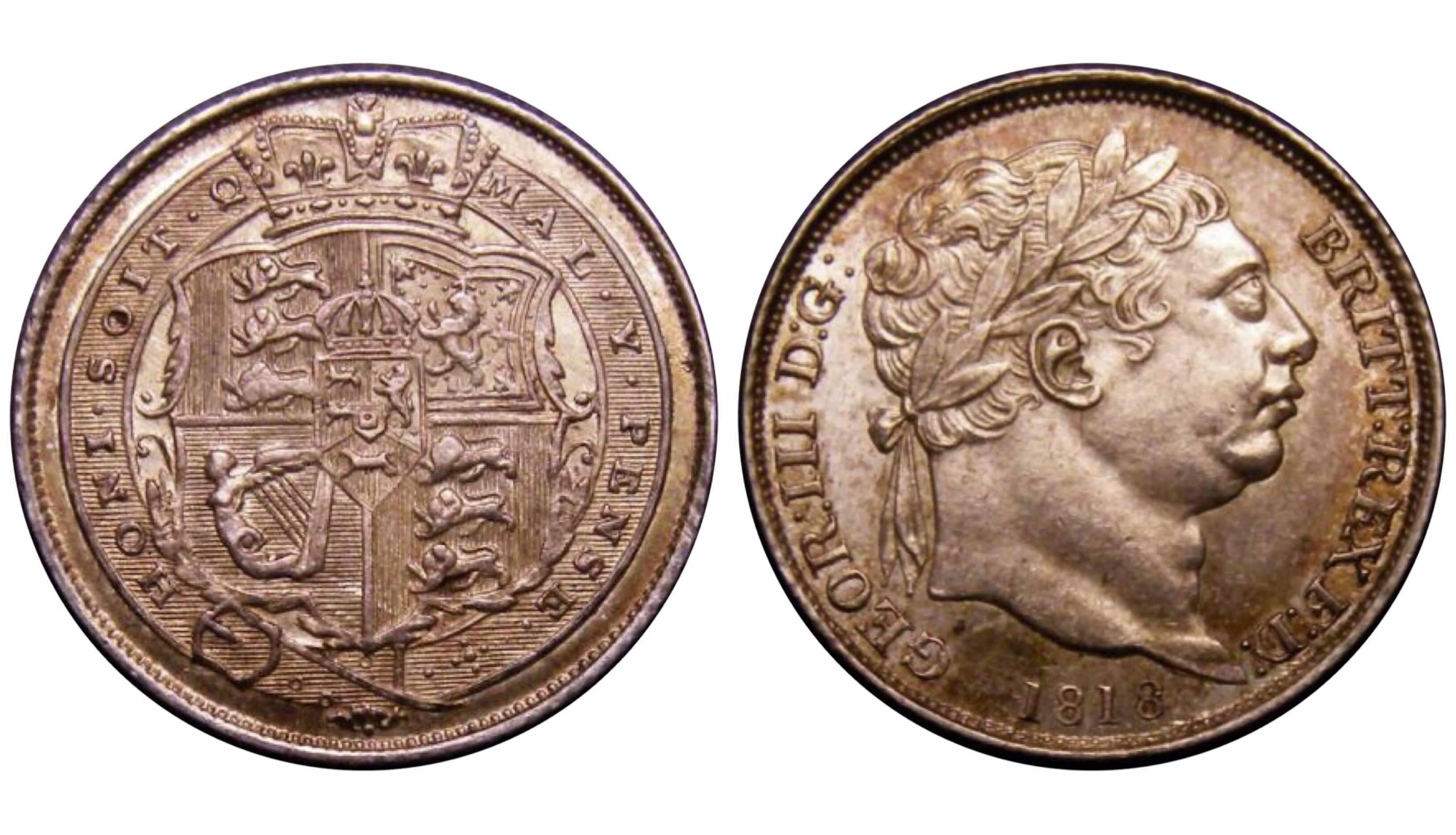 1818 Sixpence, CGS 78(MS63-64), UNC, George III, UIN 22900