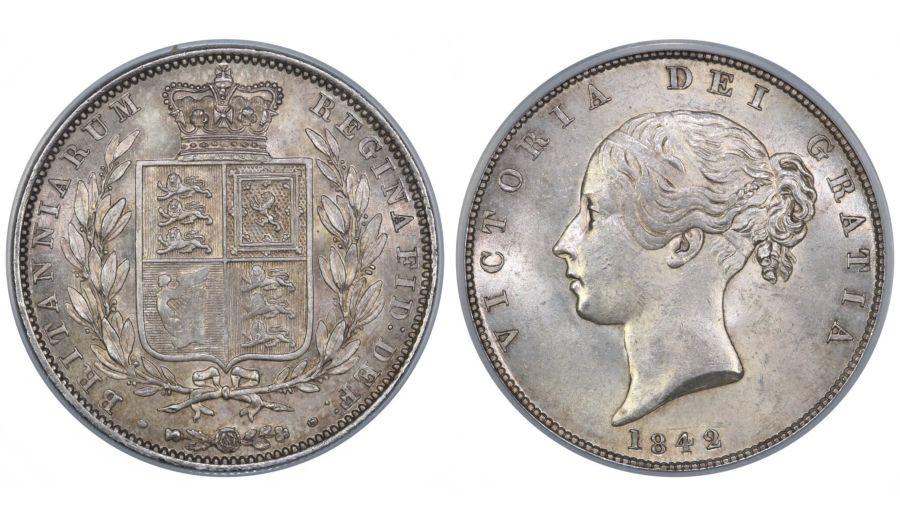 1842 halfcrown, CGS 75 (MS 62-63), UNC or near so, Victoria, ESC 675, UIN 14905