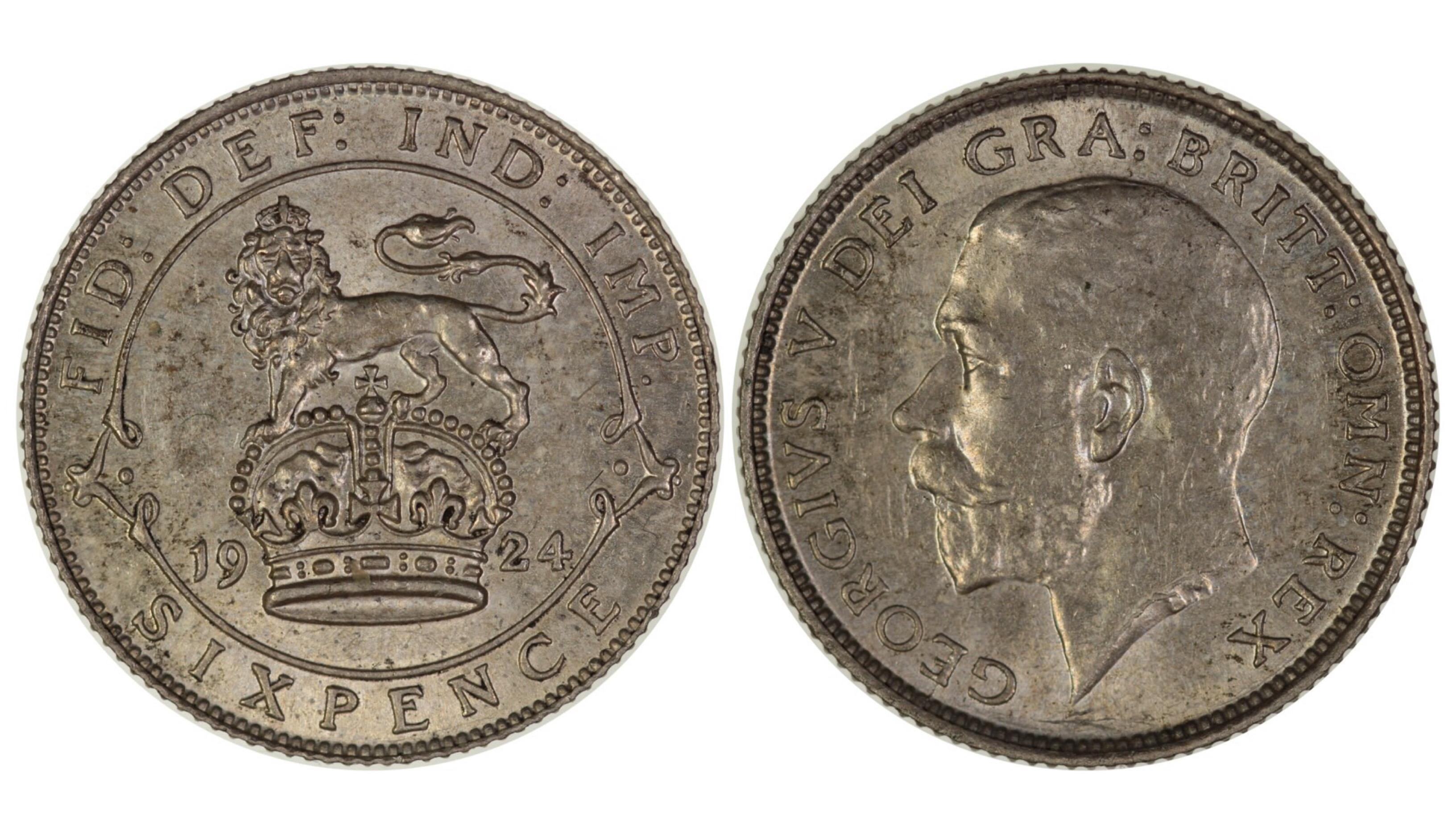 1924 sixpence, aUNC, George V, ESC 1810, Davies 1878