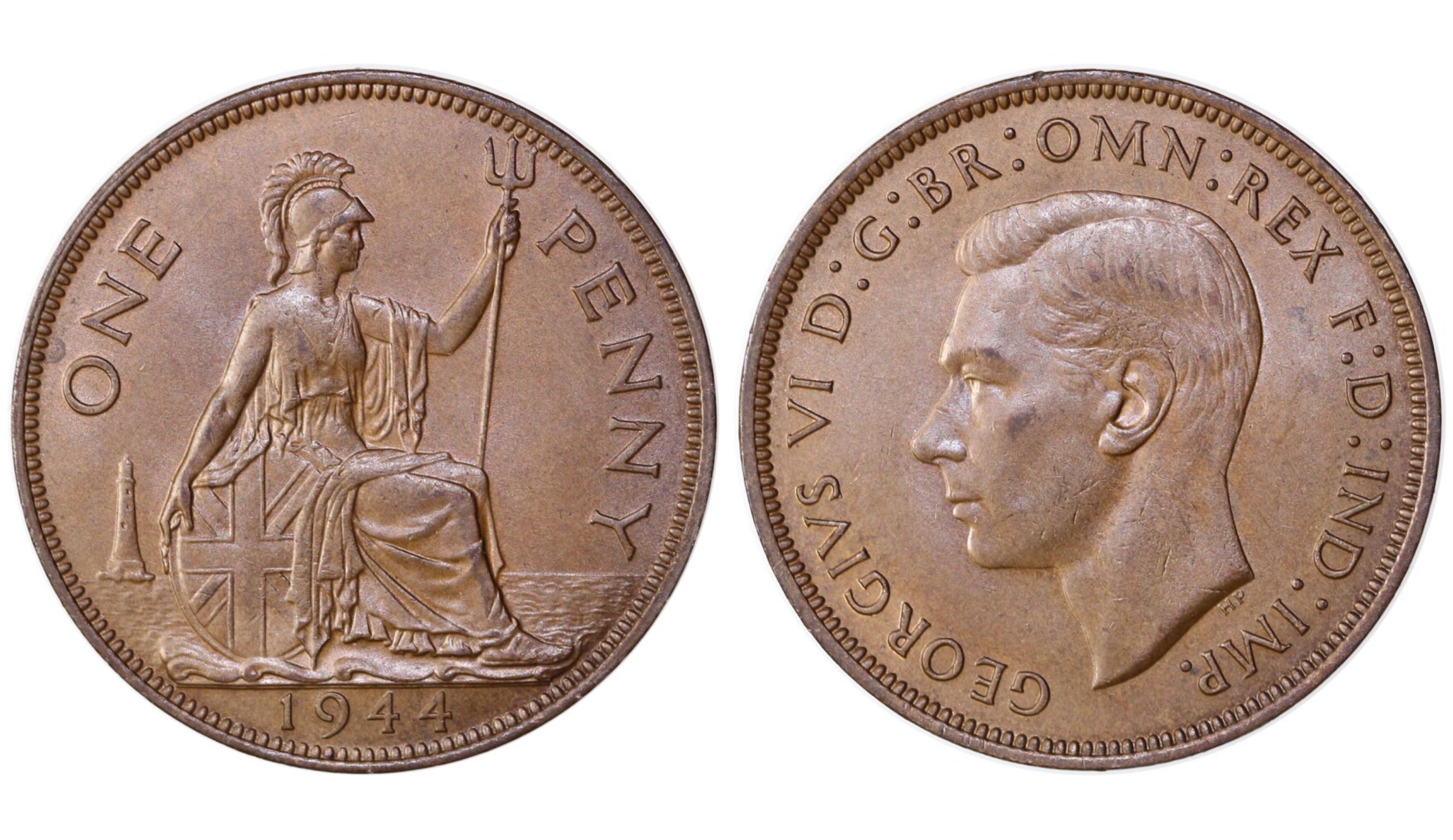 1944 Penny, George VI, Freeman 229