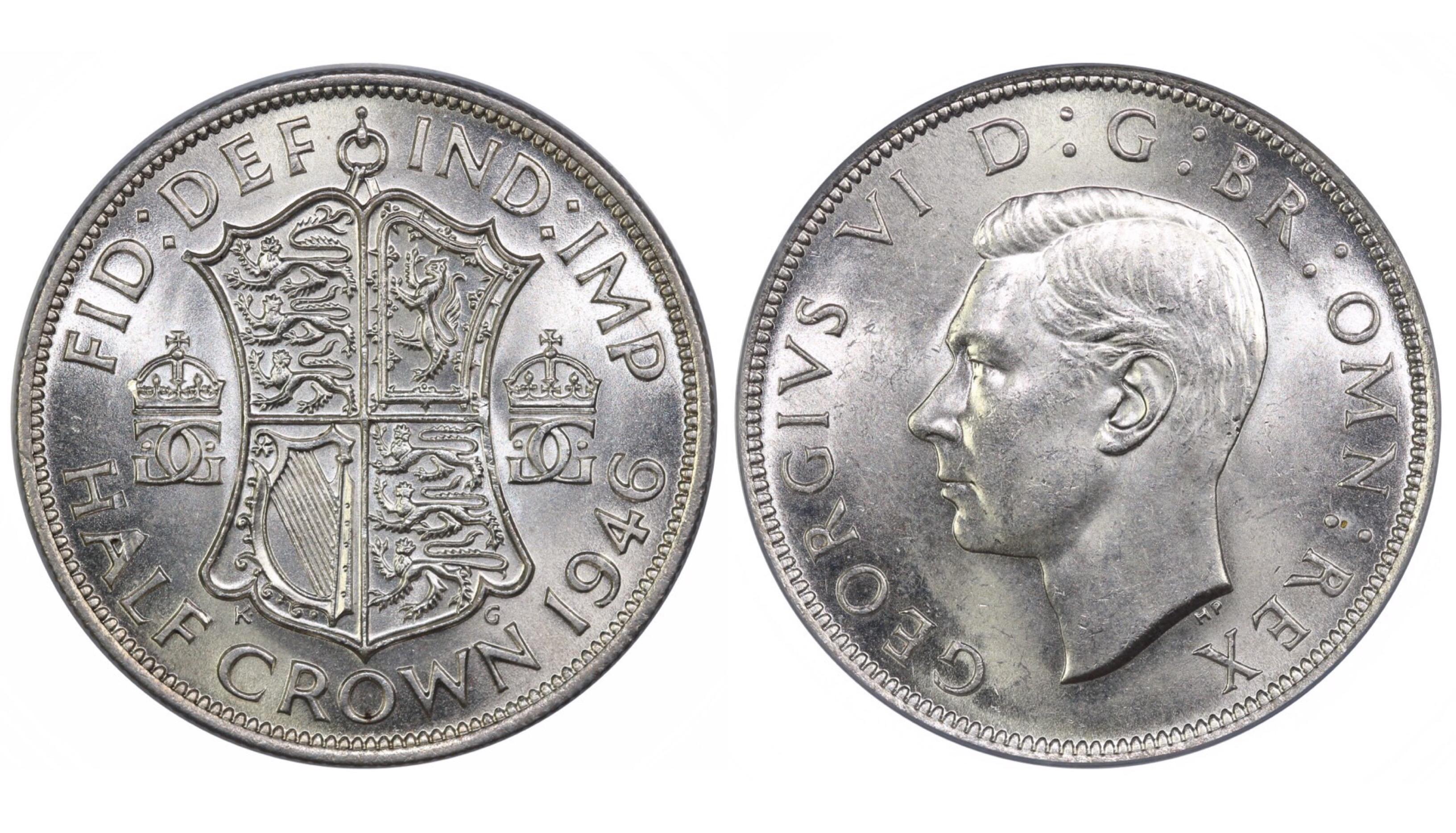 1946 Halfcrown, CGS 75, George VI, ESC 796, UIN 23812