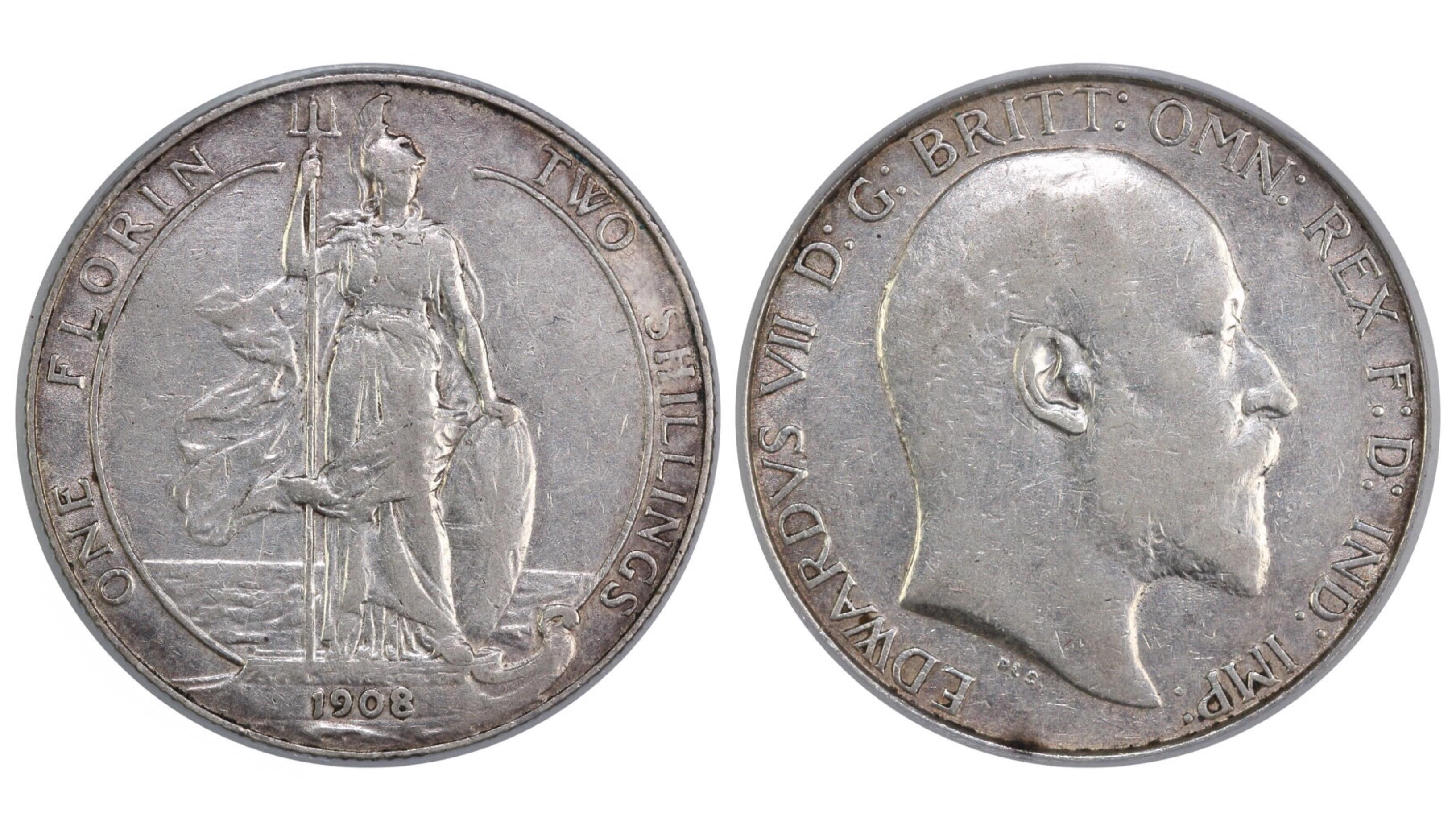 1908 Florin, CGS 35, Edward VII, ESC 926, UIN 9685