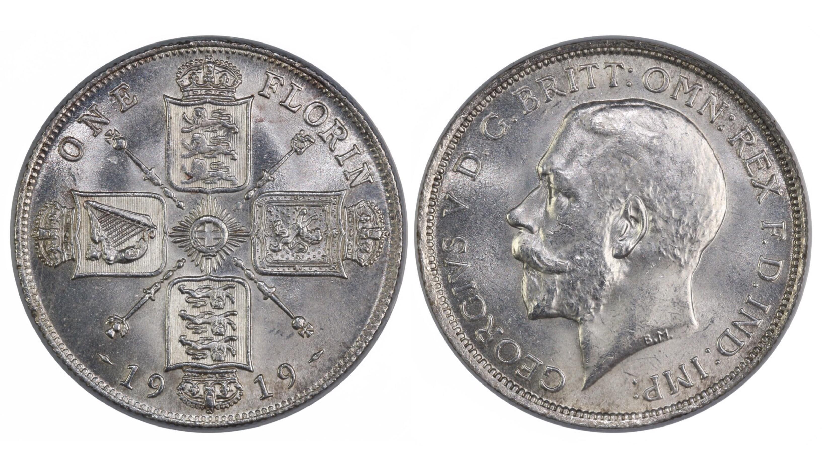 1919 Florin, CGS 75, UNC or near so, George V, ESC 938, UIN 29607