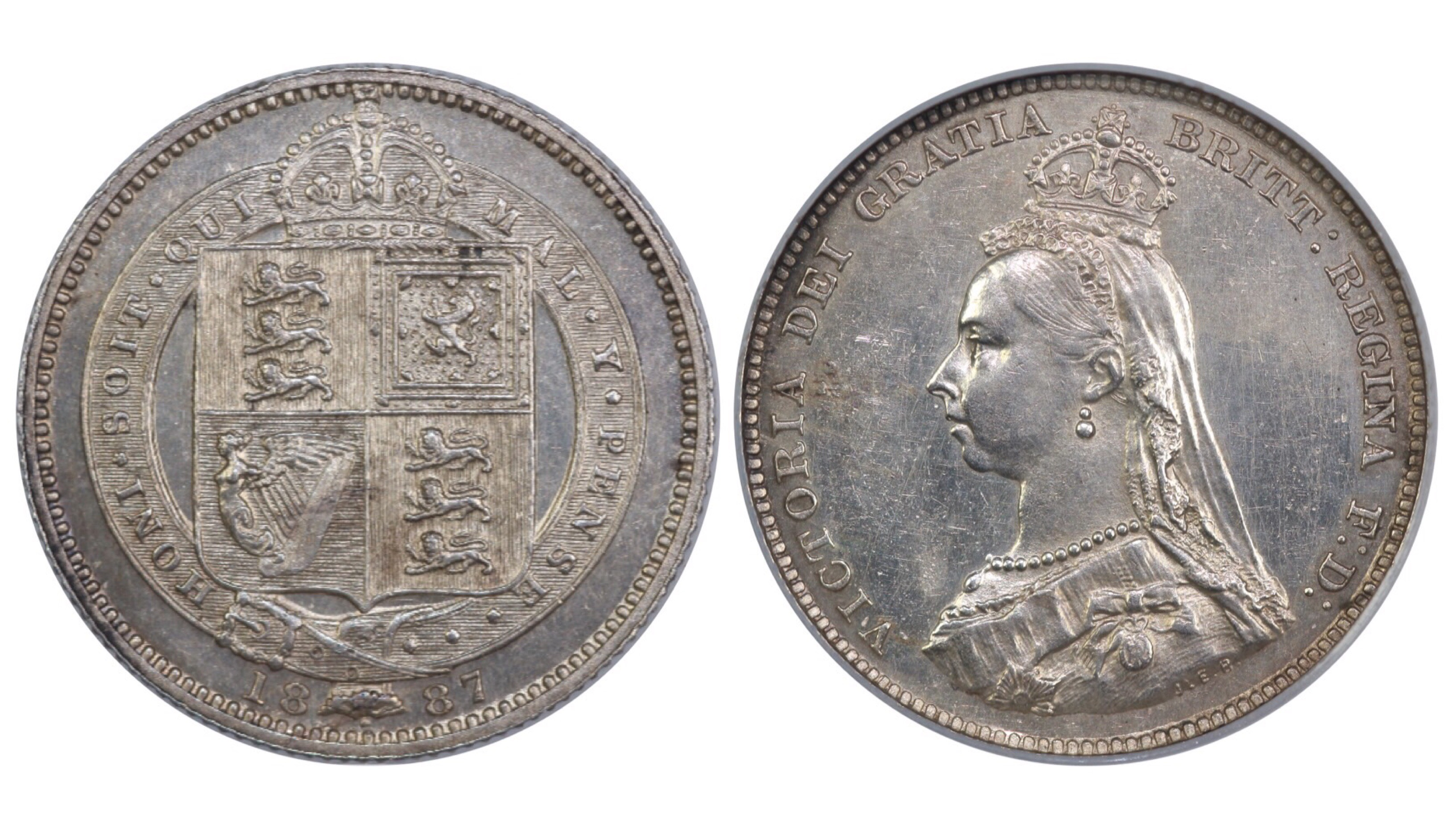1887 Shilling, CGS 65, Victoria, Dies 1A, Davies 980, UIN 8158