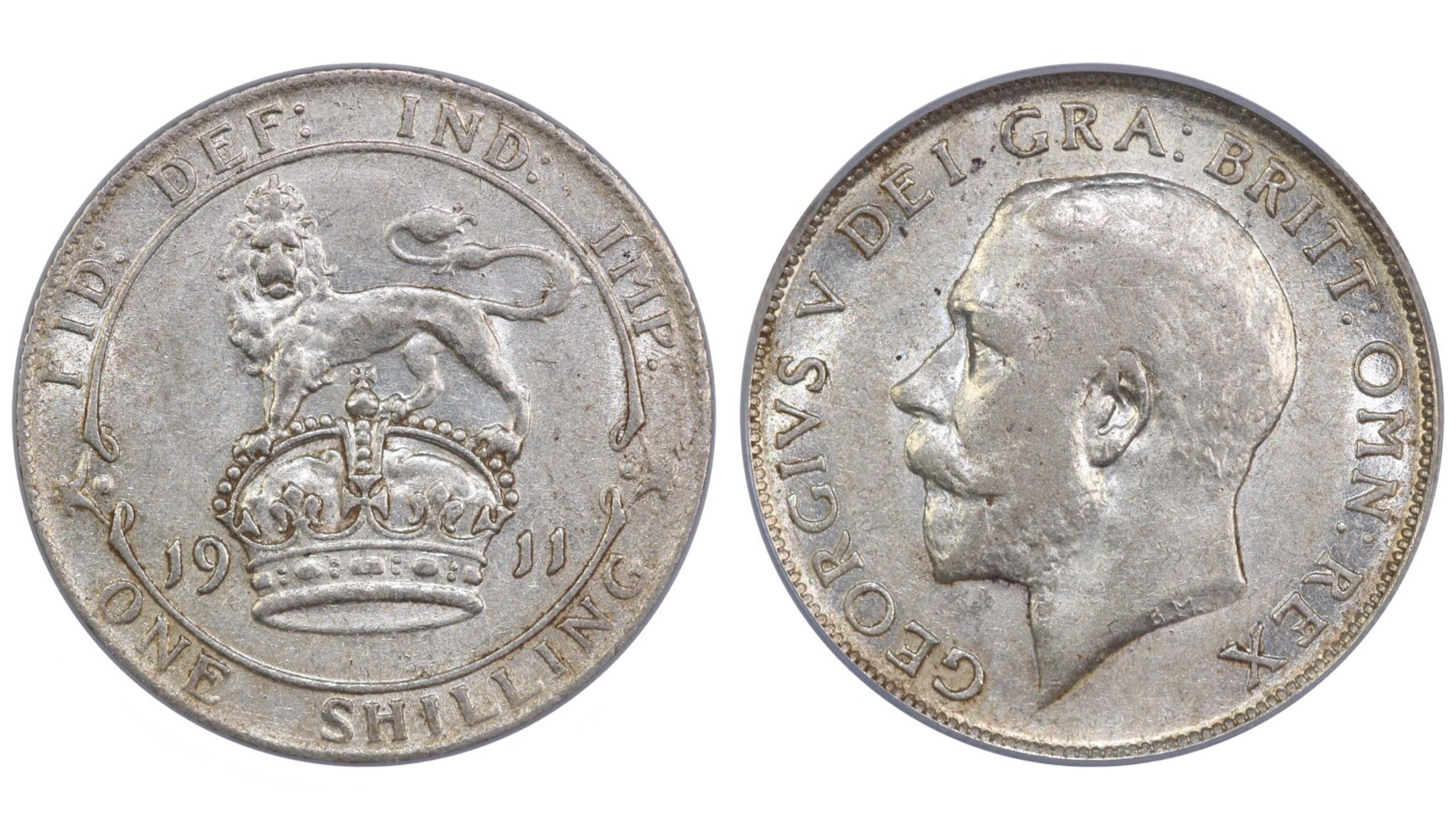 1911 Shilling, CGS 55, Dies 3A, Davies 1792, 25727 - Auctio