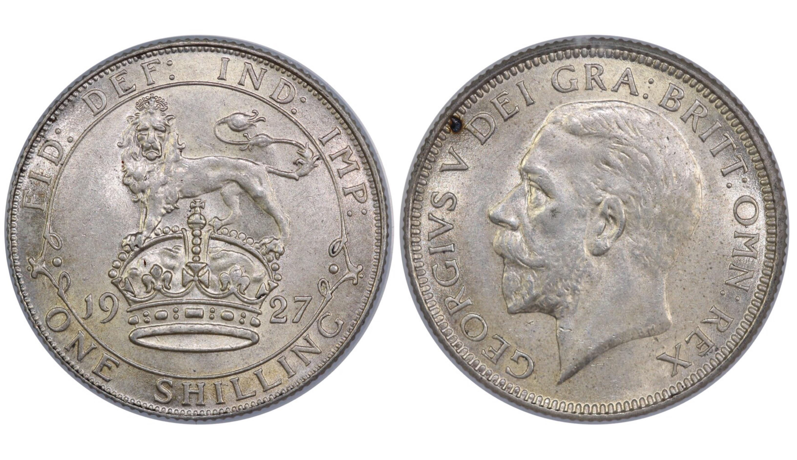 1927 Shilling, CGS 75, George V, ME, ESC 1438, UIN 29054